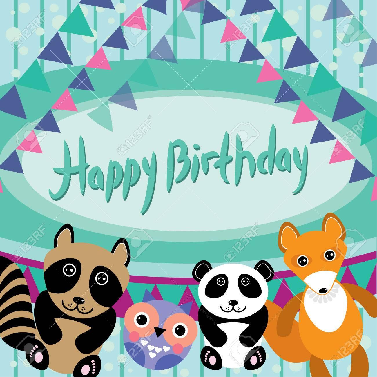 Lustige Tiere Eule Fuchs Waschbar Panda Alles Gute Zum