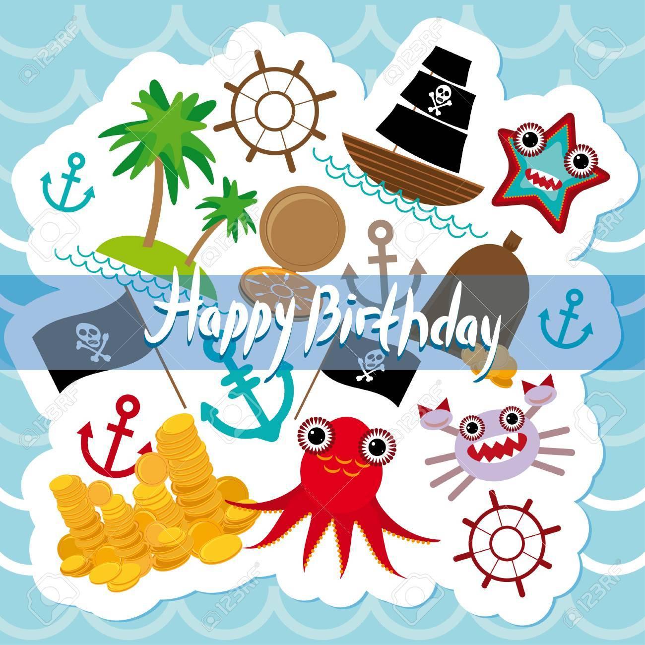 Happy Birthday Card Pirate Stock Vector