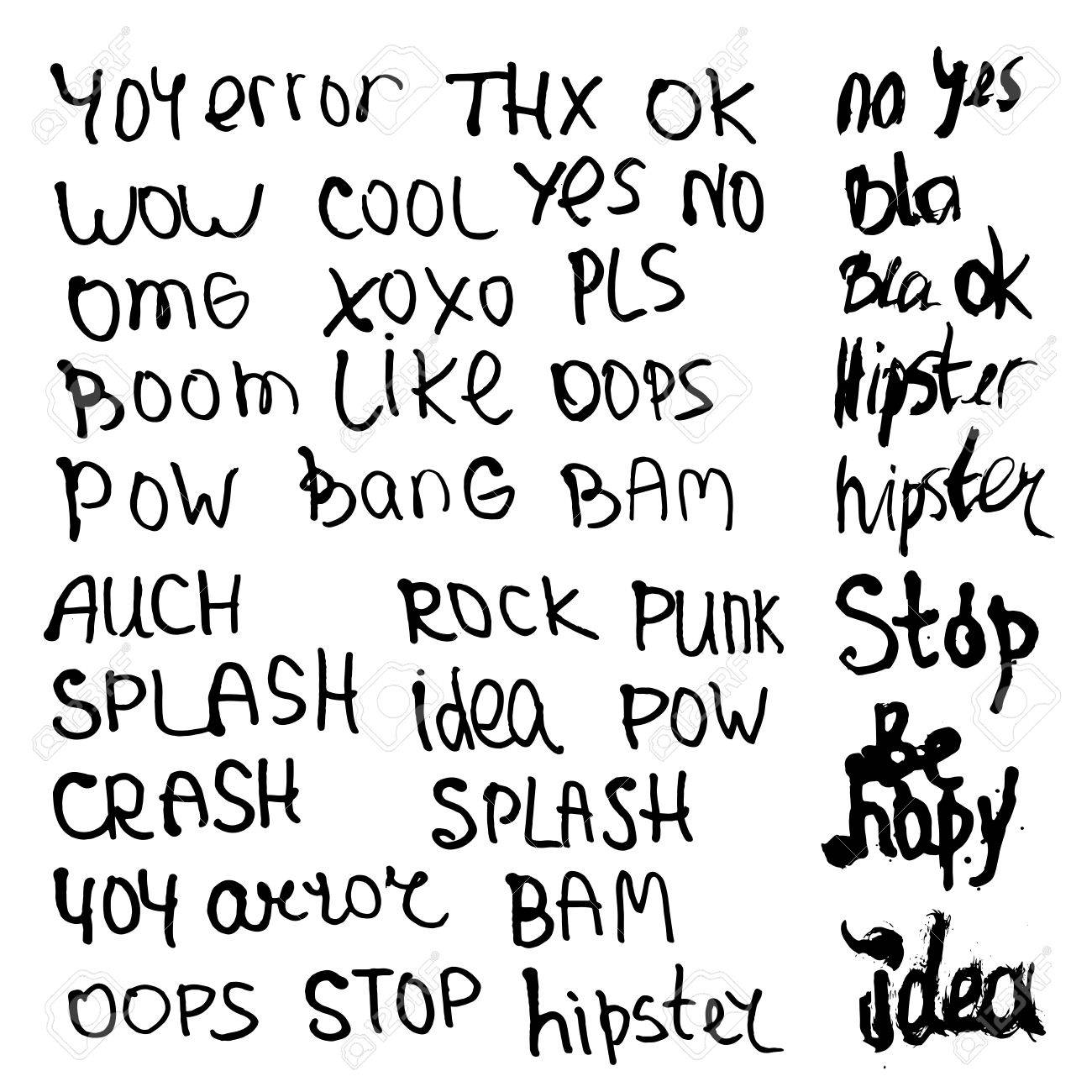 Hand drawn set with short phrases, words and slang on white background
