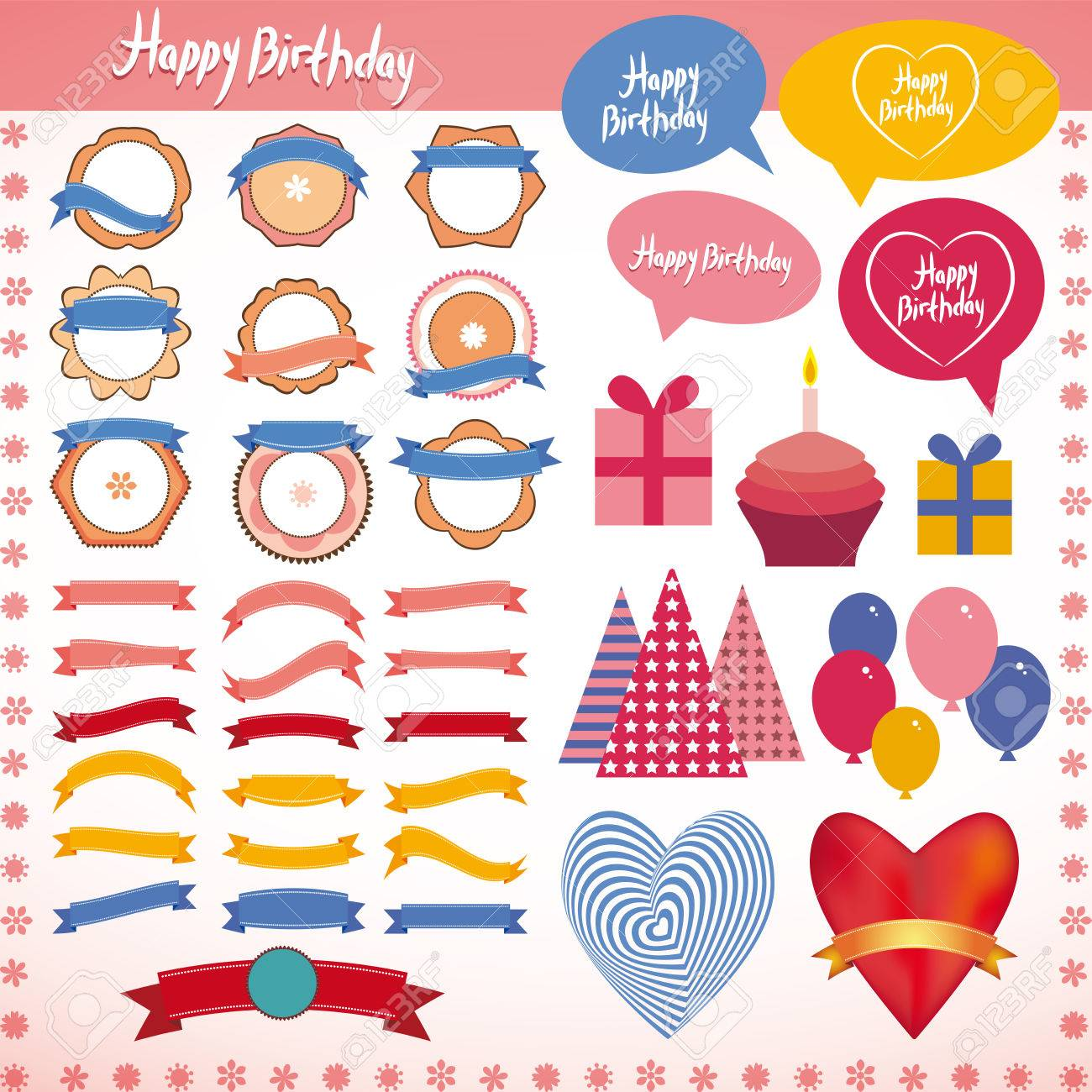 Set of vintage elements, birthday holiday party Pink, blue, orange. - 34220252
