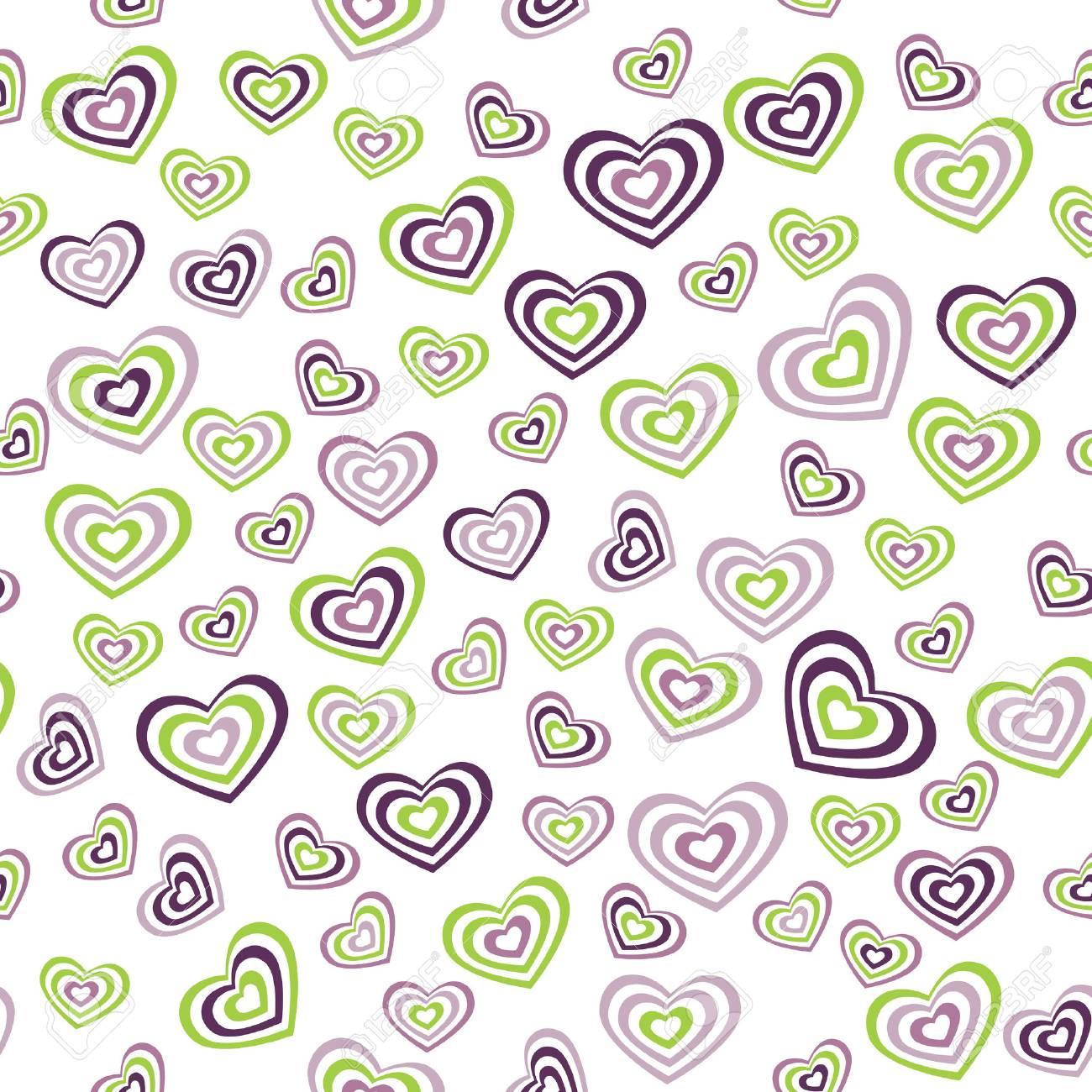 Nahtlose Muster Herzen Grun Lila Auf Weissem Hintergrund Hochzeit