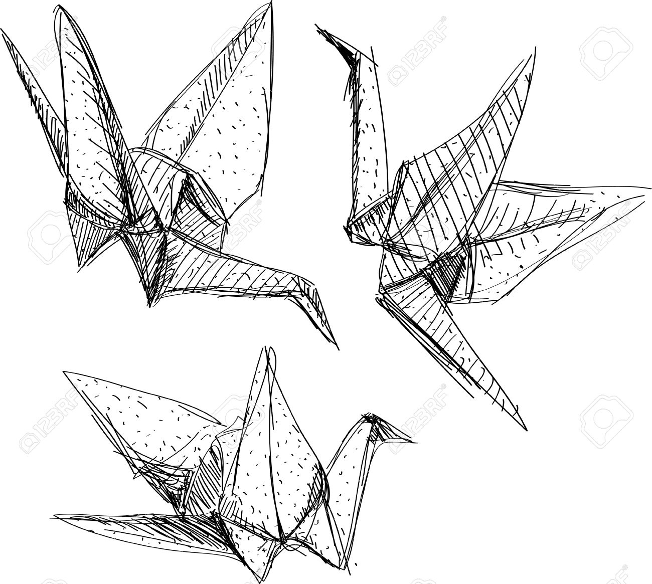 Origami Paper Cranes Set Sketch The Black Line On White Background