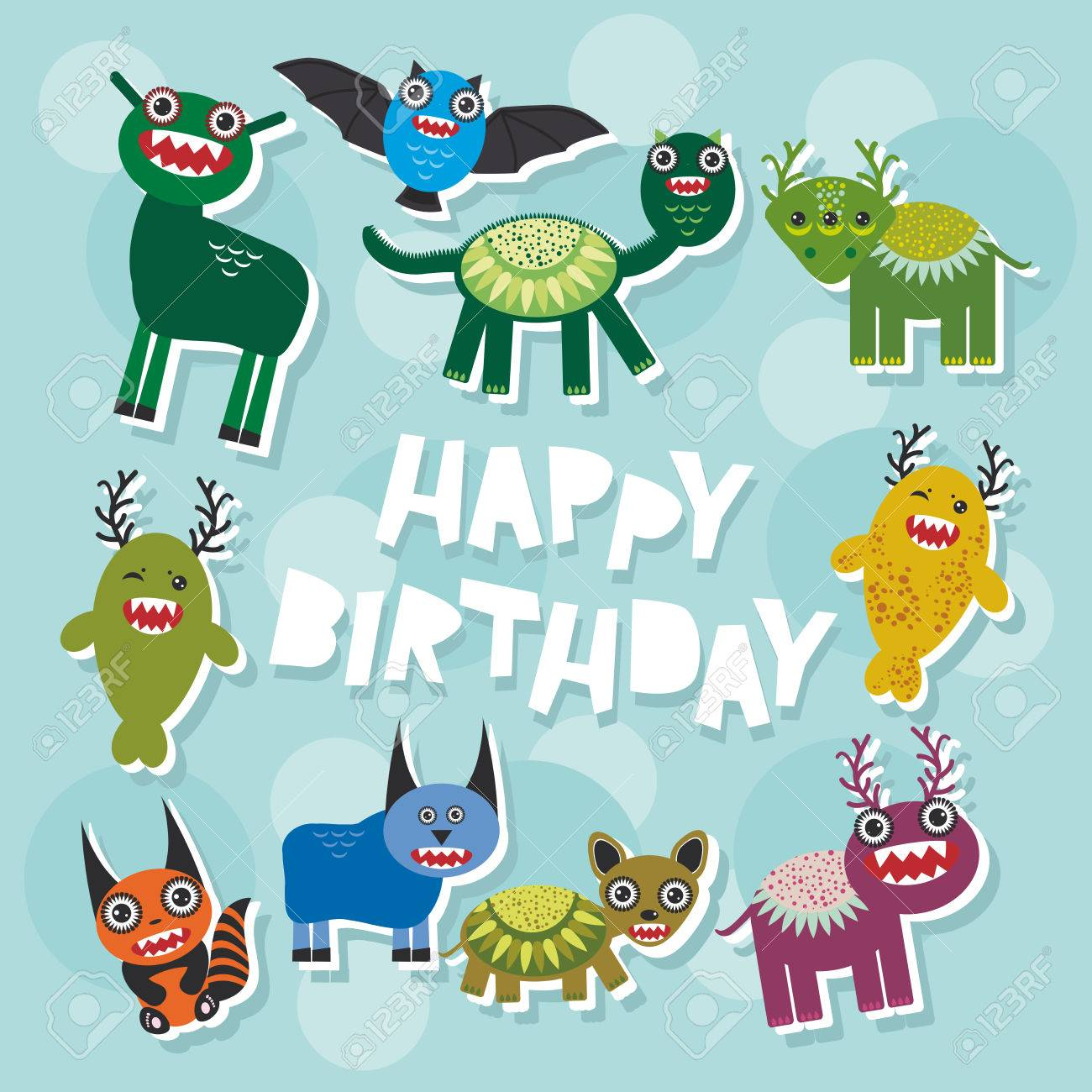 Happy Birthday Funny Monsters Party Card Design Vector Illustration Stock