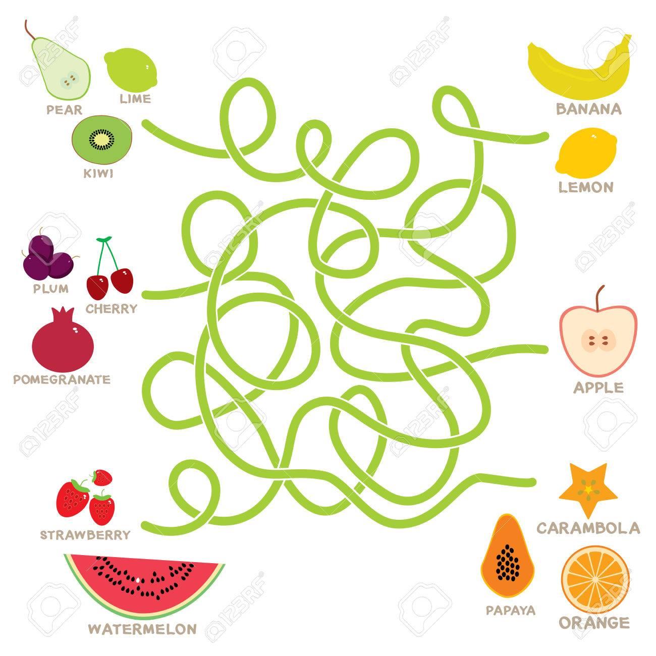 Juego De Laberinto De Frutas Para Ninos En Edad Preescolar