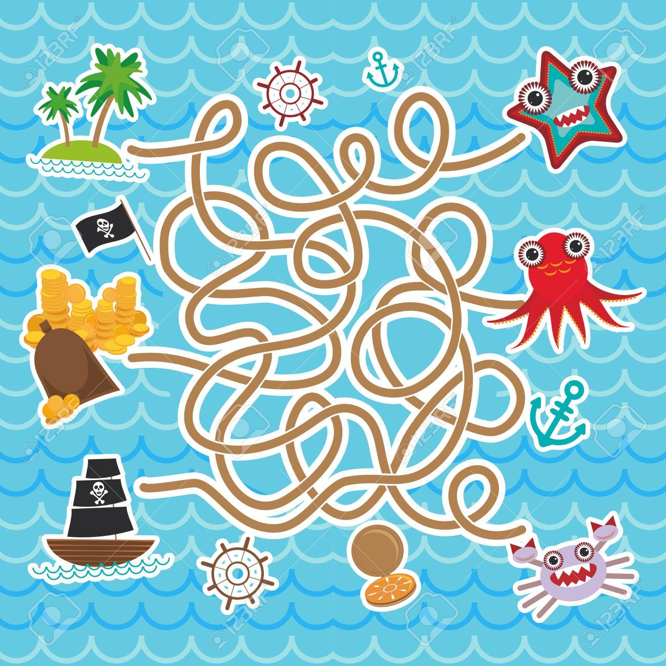 animales marinos barcos piratas mar linda coleccin de objetos del juego de laberinto para