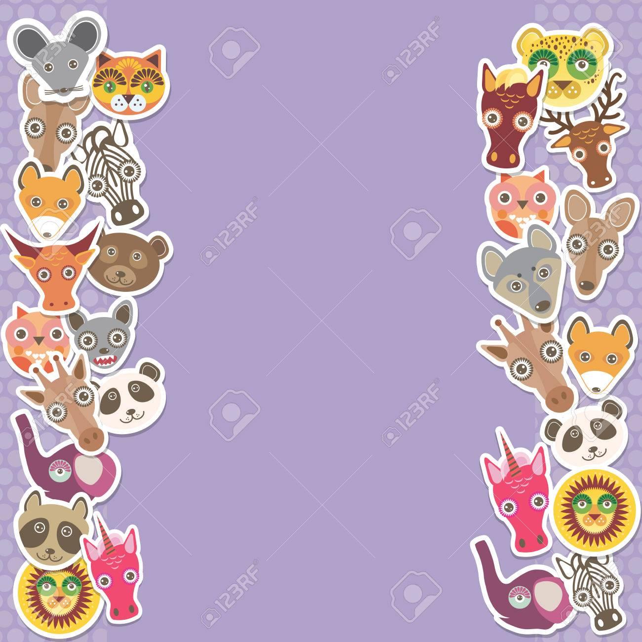 Funny Animals Kartenvorlage. Lila Hintergrund, Vorlage Für Ihr ...