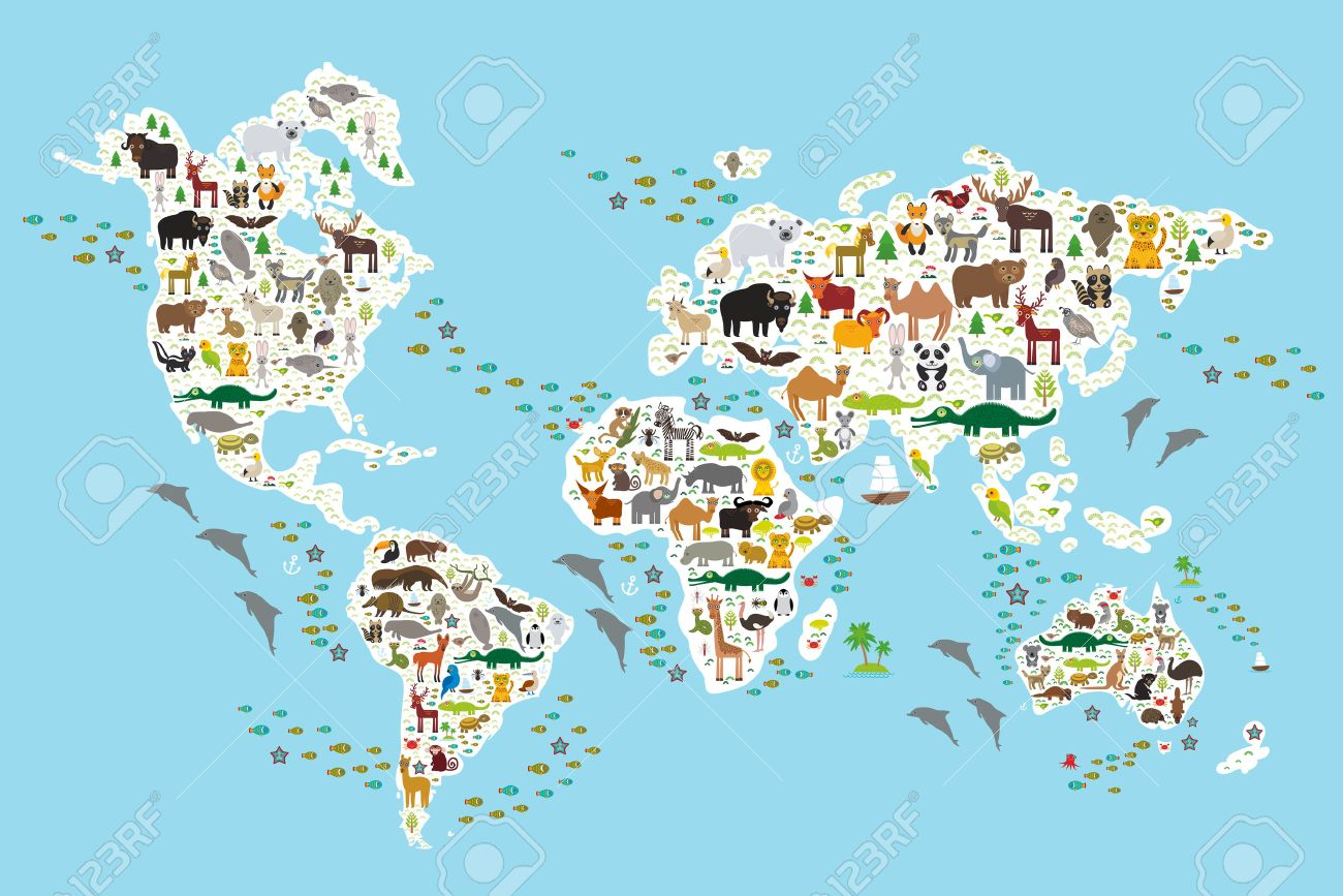 Cartoon Animal World Map For Children And Kids Animals From All Over The