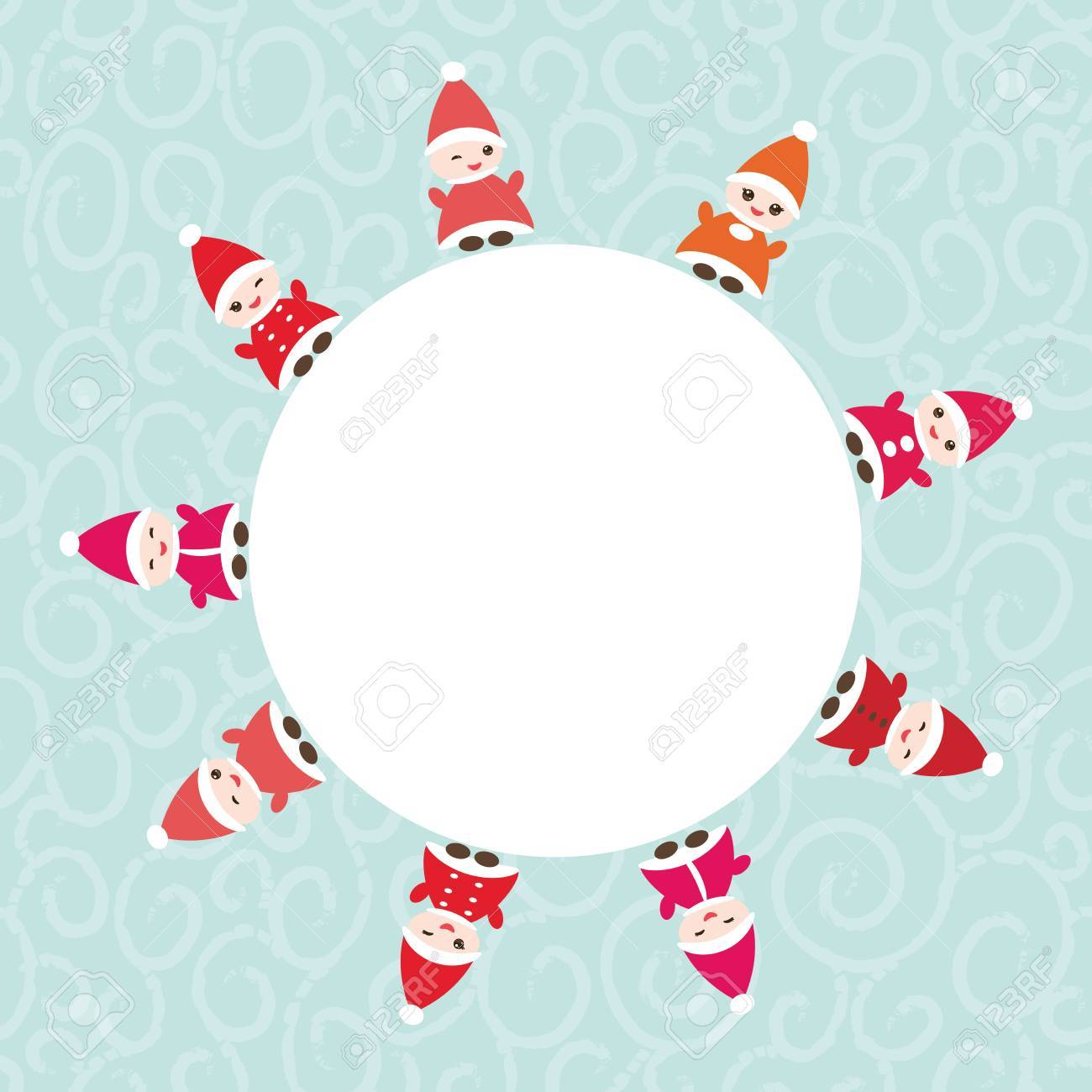 Happy New Year Card For Your Text Round Frame. Funny Gnomes In ...