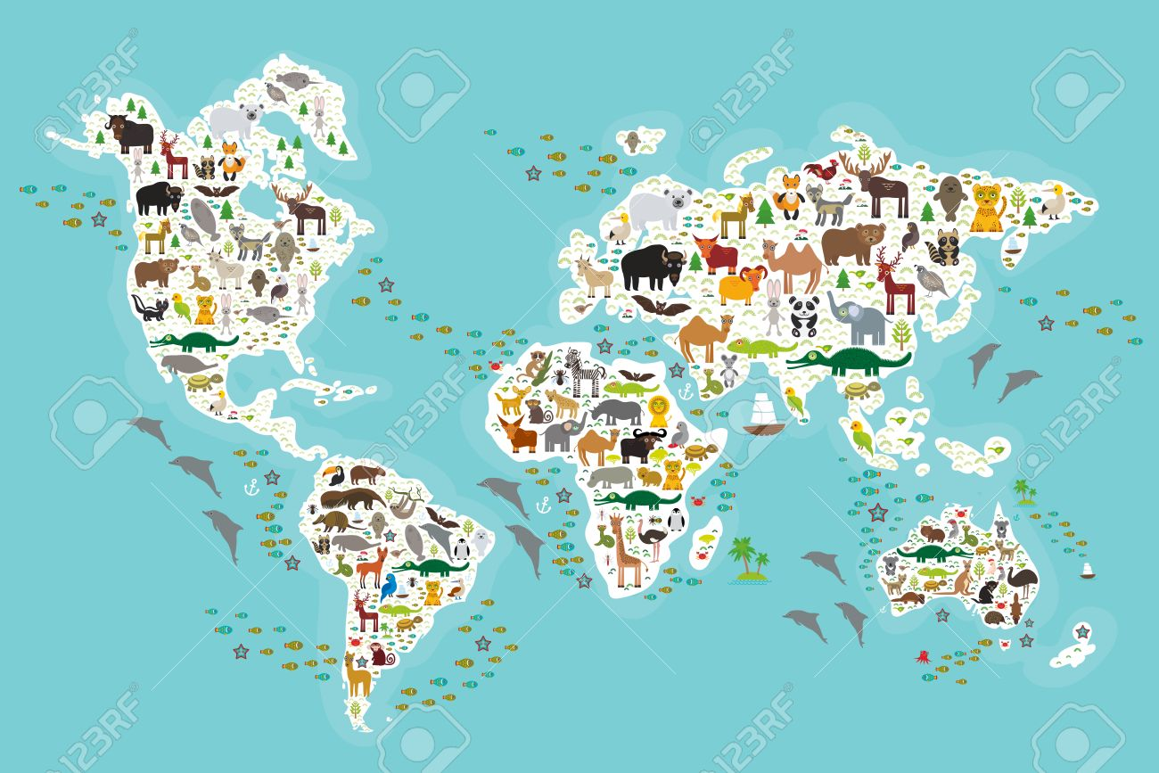 Cartoon Animal World Map For Children And Kids, Animals From ...