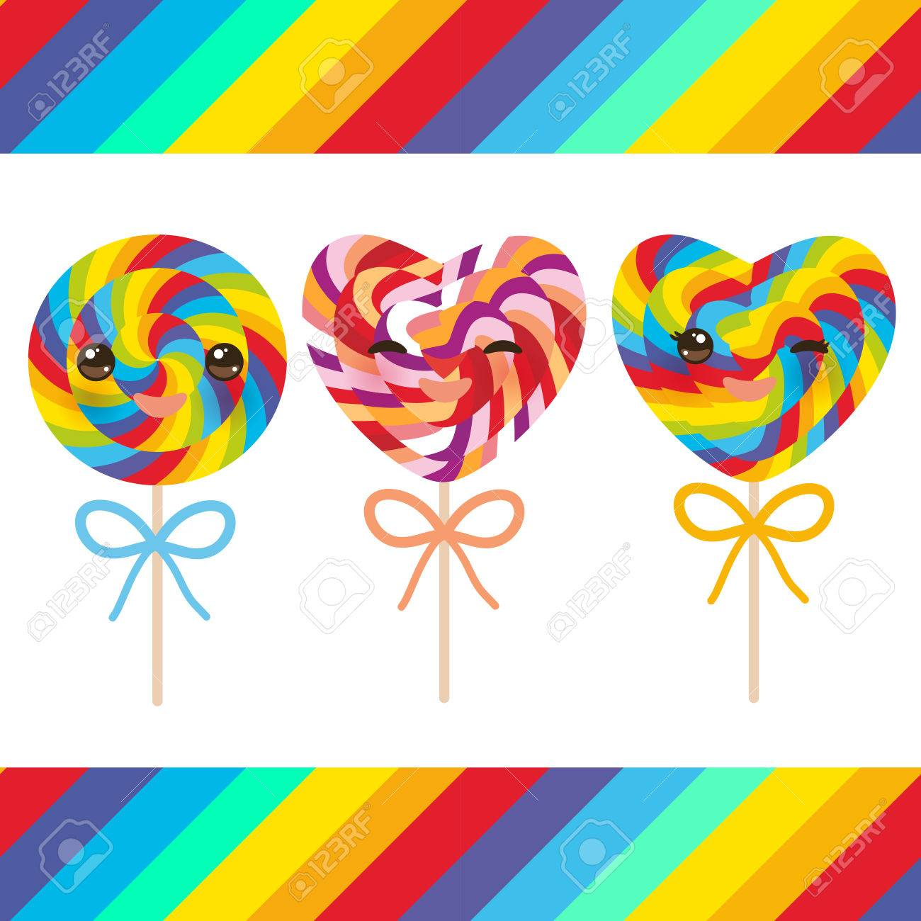 Kawaii Valentine\'s Day Heart Shaped Candy Lollipops With Bow ...