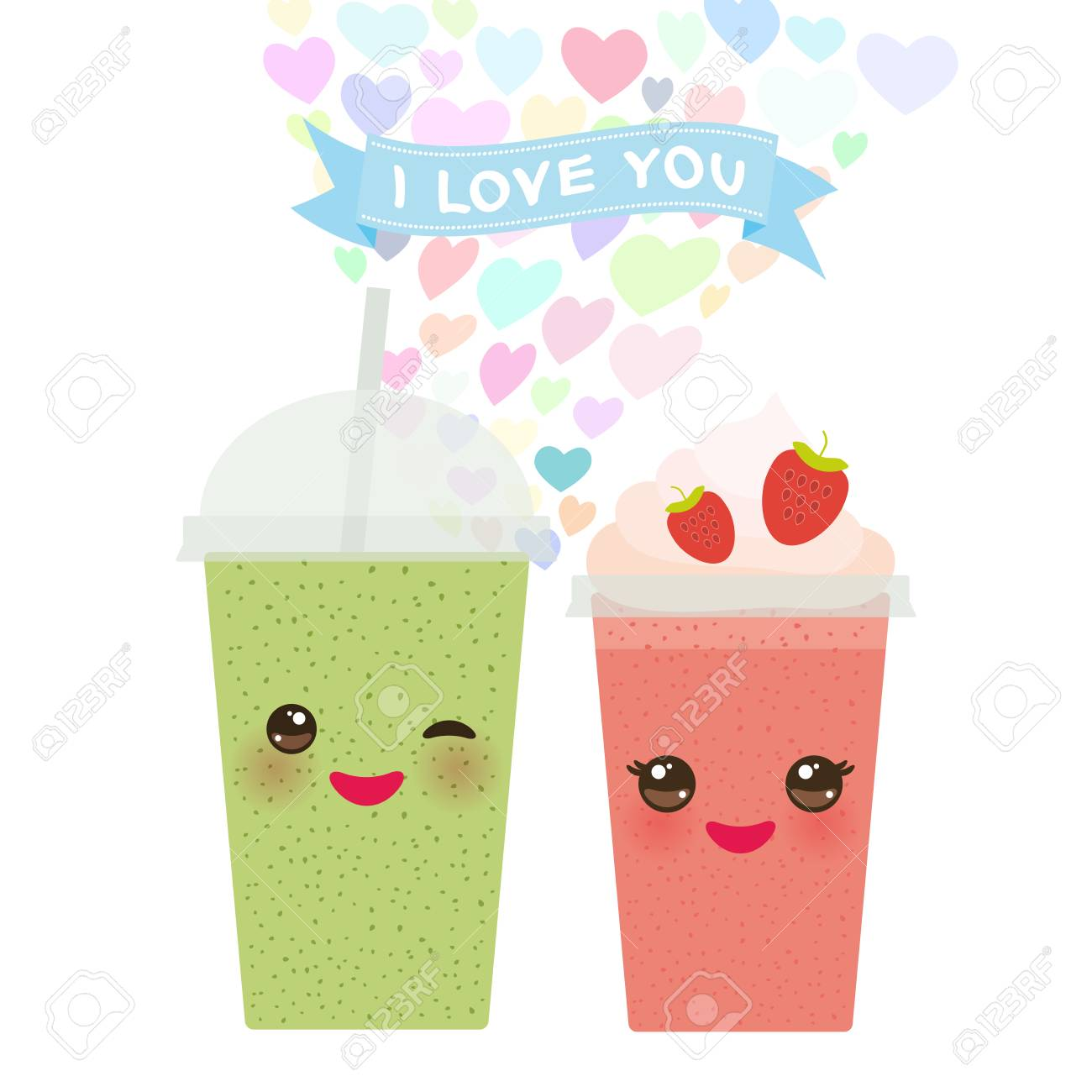 valentines day card design with kawaii strawberry kiwi take out smoothie transparent plastic cup with
