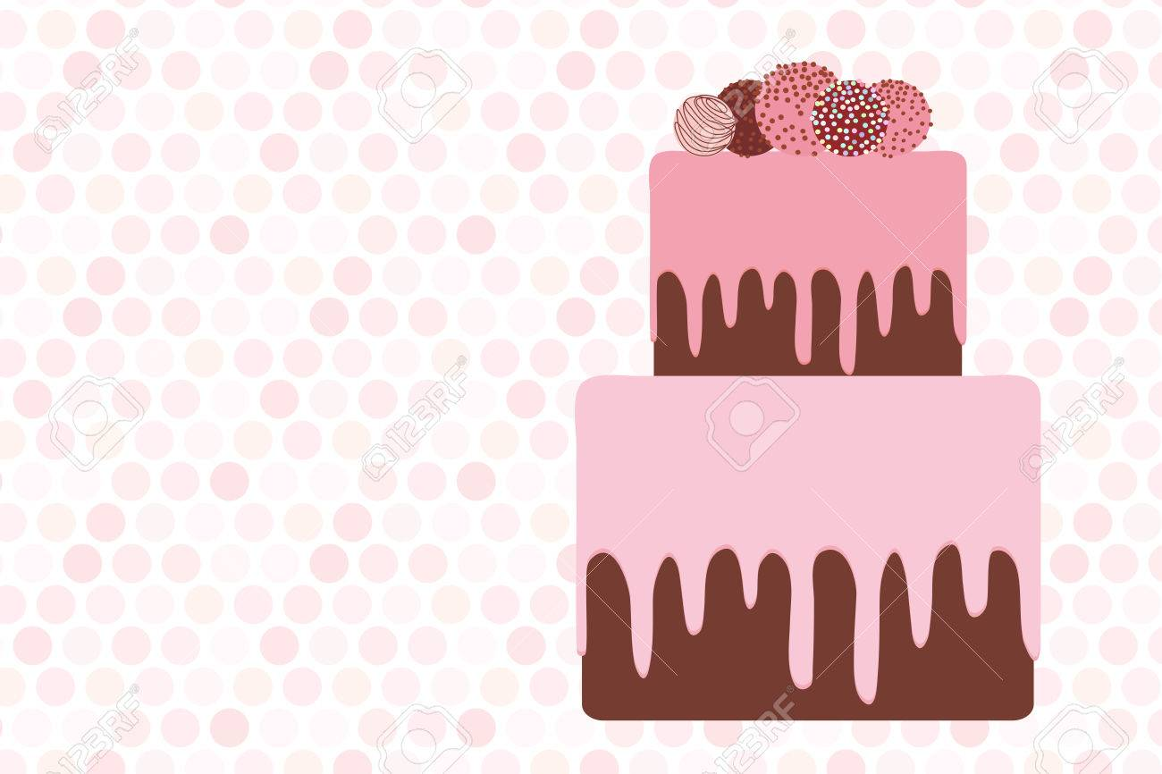 Greeting Card Template, Birthday, Valentineu0027s Day, Wedding, Engagement.  Sweet Cake,