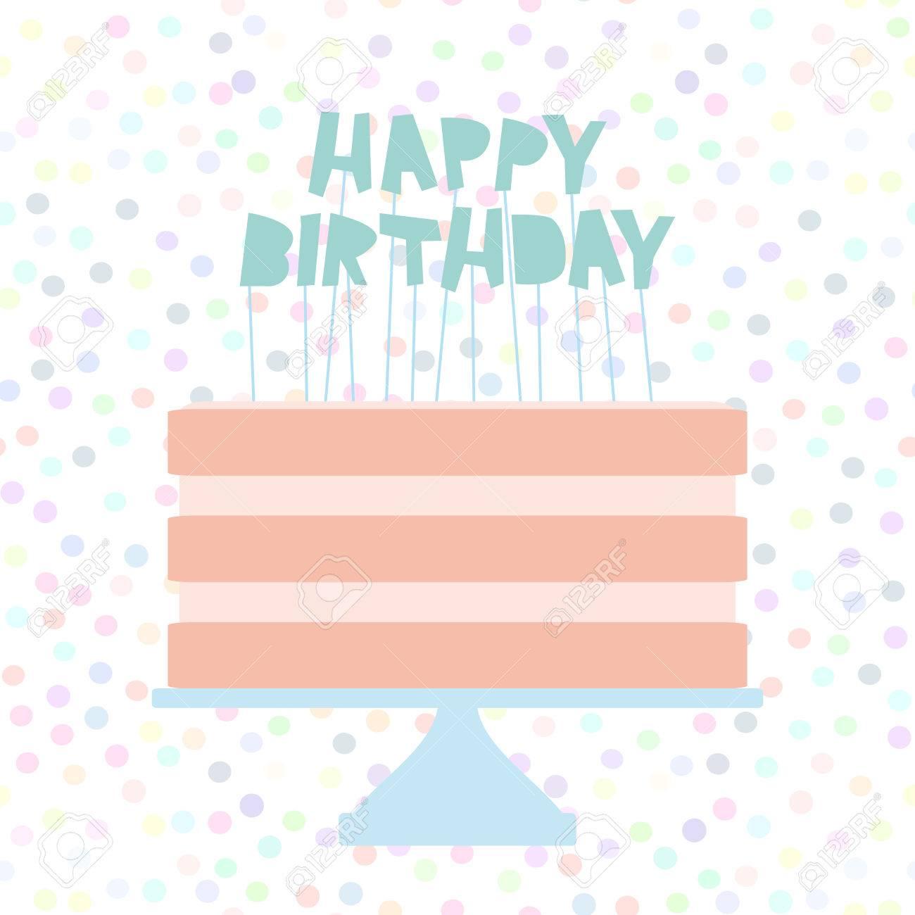 Happy Birthday Sweet Pink Cake Strawberry Pink Cream Banner