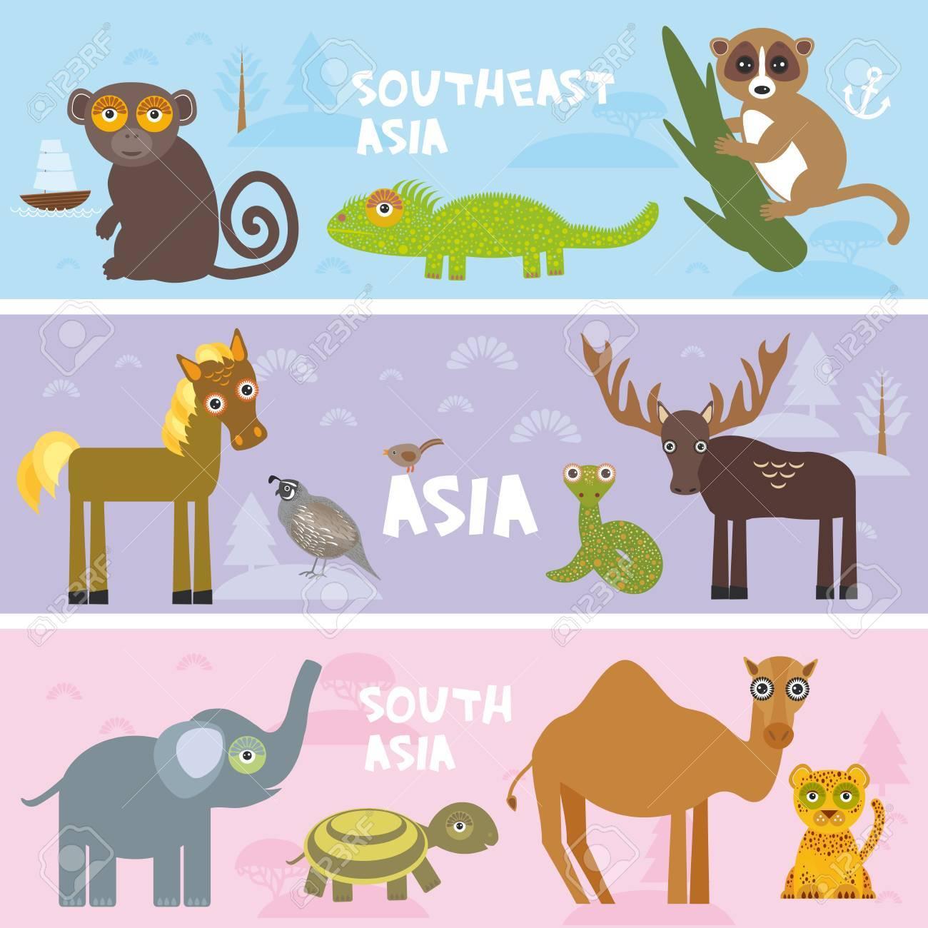 Animales Lindos Conjunto Elefante Camaleón Camello Caballo Mono ...