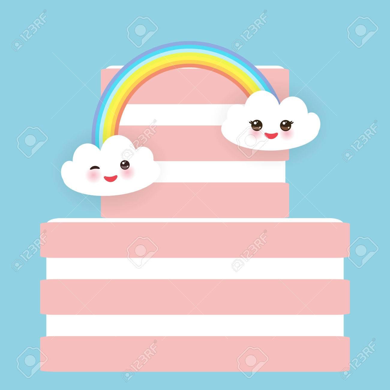 Kawaii Happy Birthday Sweet Strawberry Pink Cake White Cream Clouds Rainbow Banner