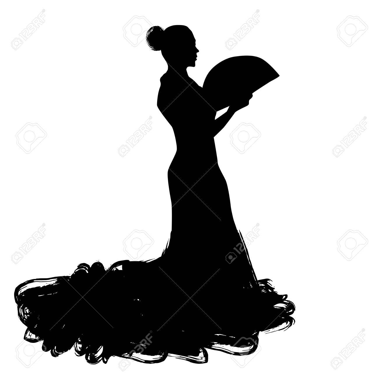 d36abe15d38d Woman With Fan In Long Dress Stay In Dancing Pose. Flamenco Dancer ...