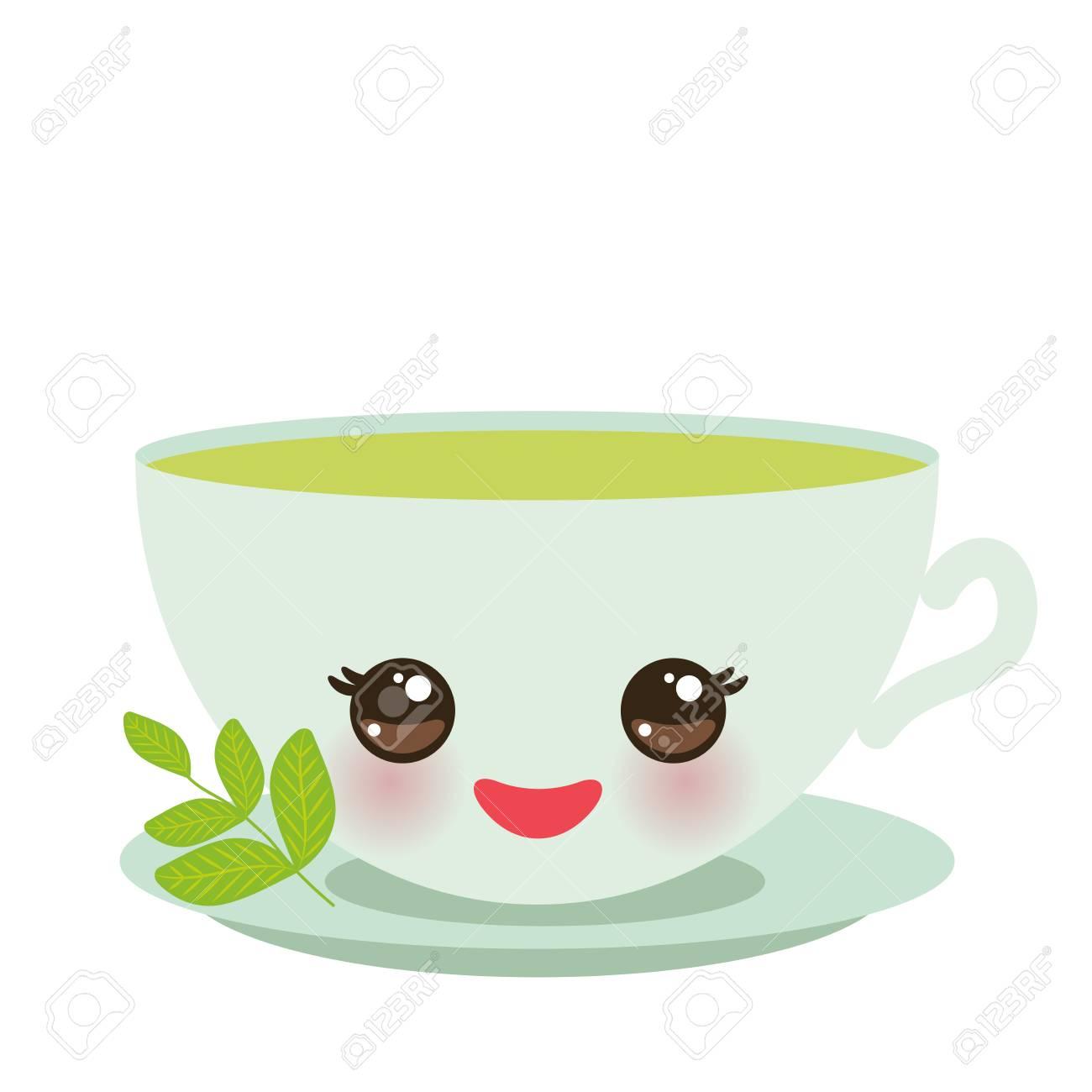 Vettoriale Tazza Verde Carina Kawaii Con Guance E Occhi Rosa Tè