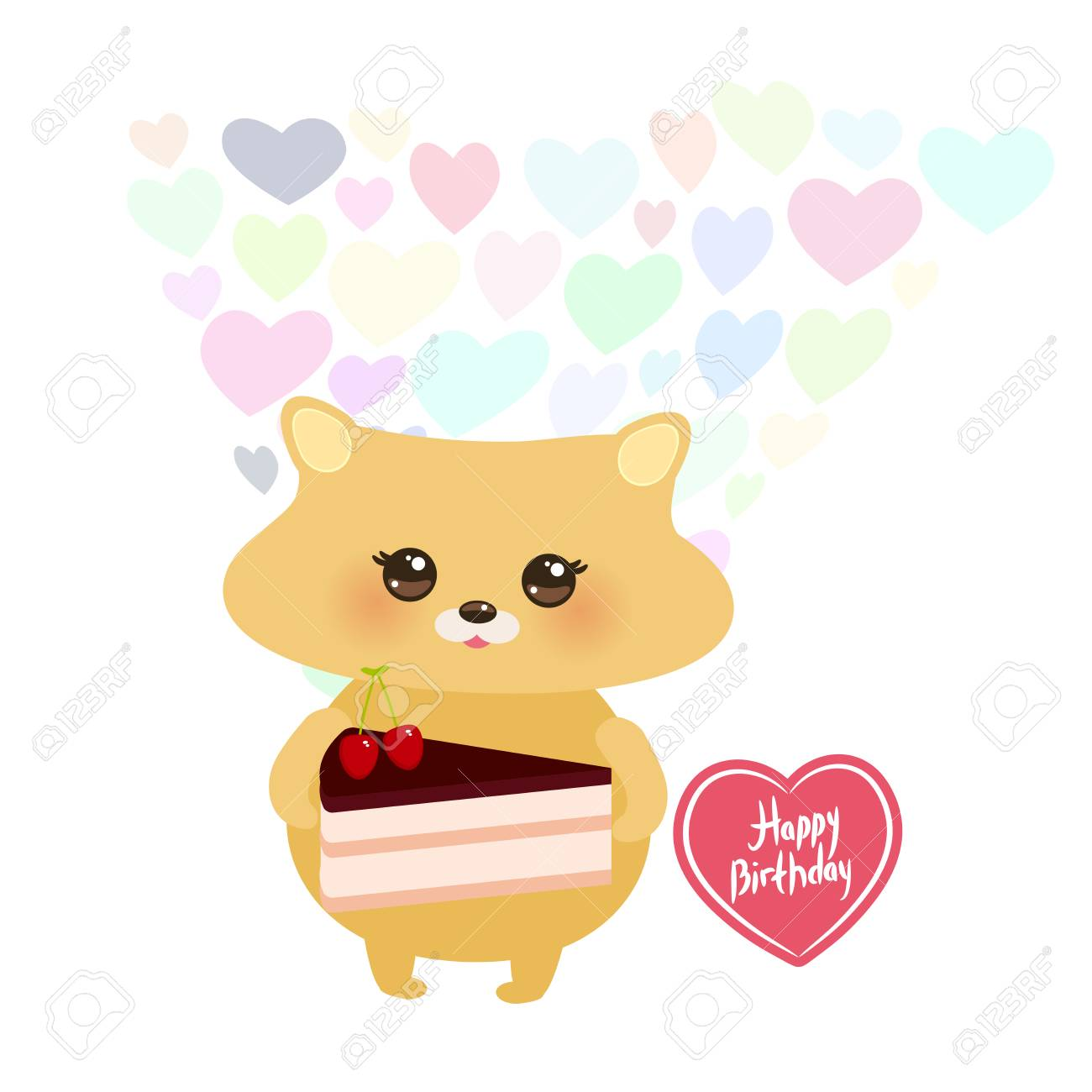 Happy Birthday Card Design Cute Hamster With Sweet Cake Decorated