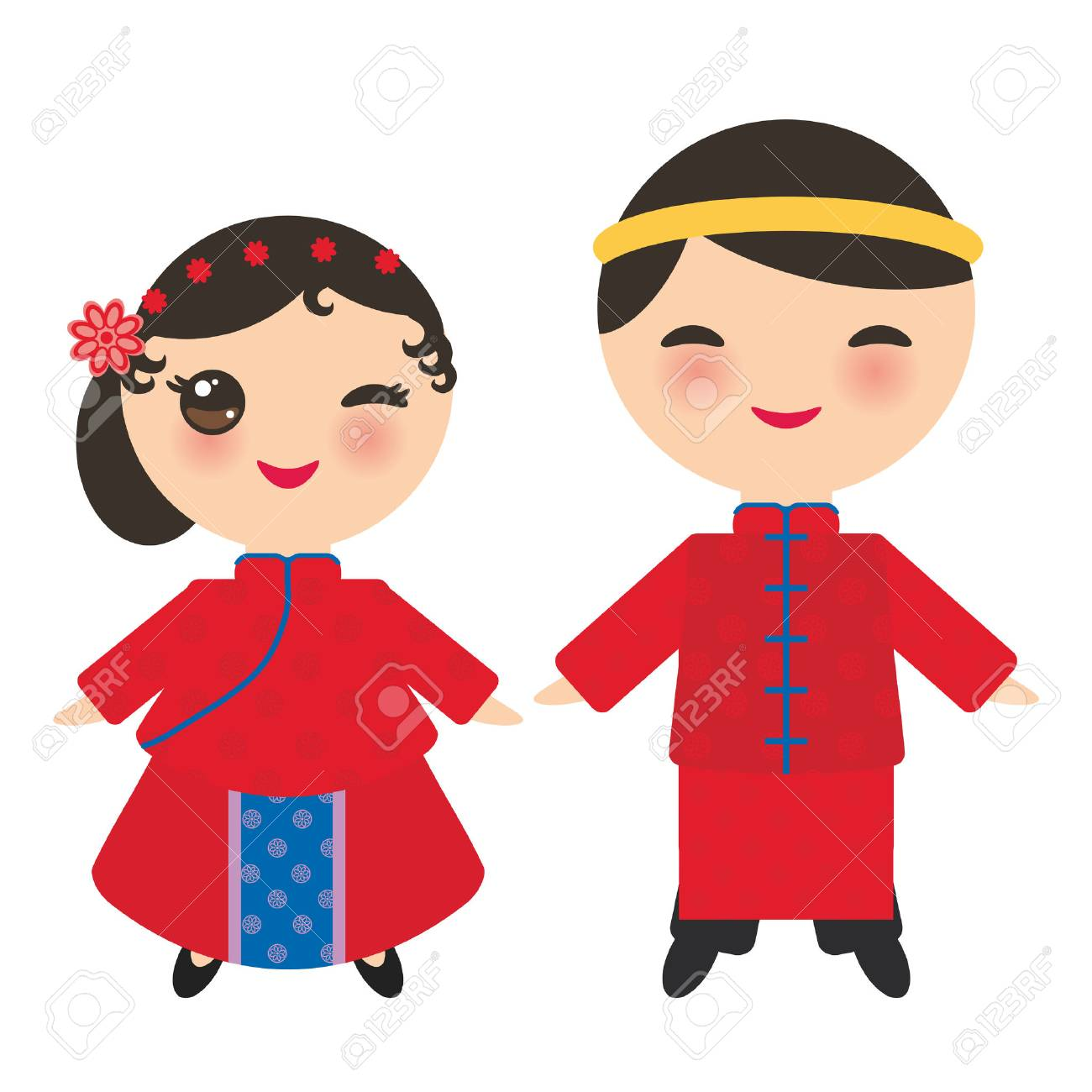 7571eba3a Chinese boy and girl in national costume and hat. Cartoon children in traditional  China dress
