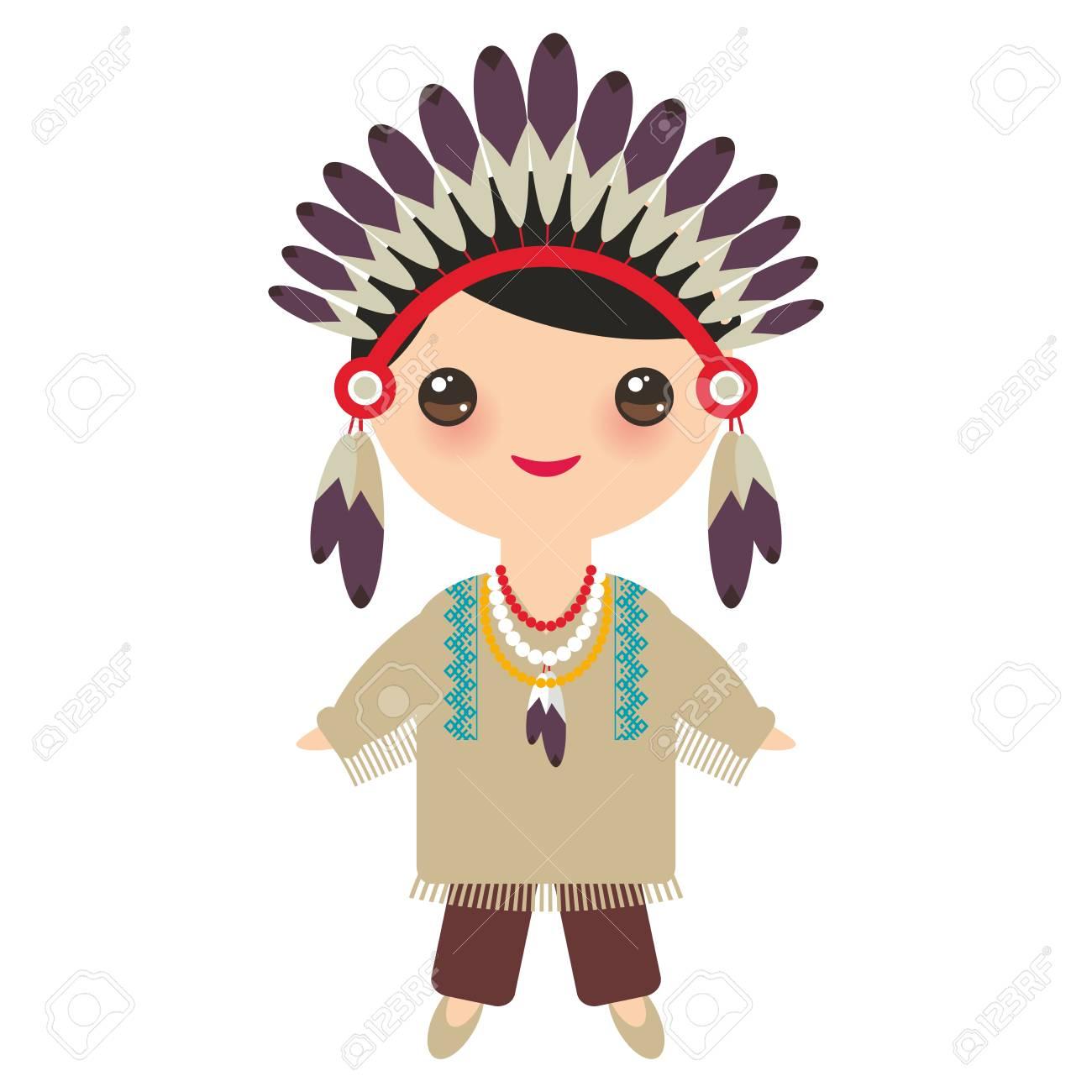 Indios Americanos Rapaz Kawaii Em Traje Nacional Criancas Dos