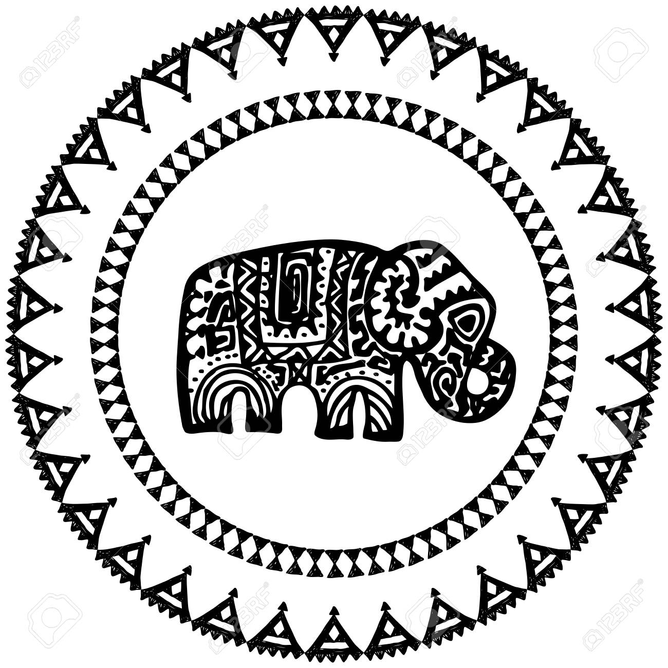 Beautiful Card With Elephant Indian With Ornaments. Round Frame ...