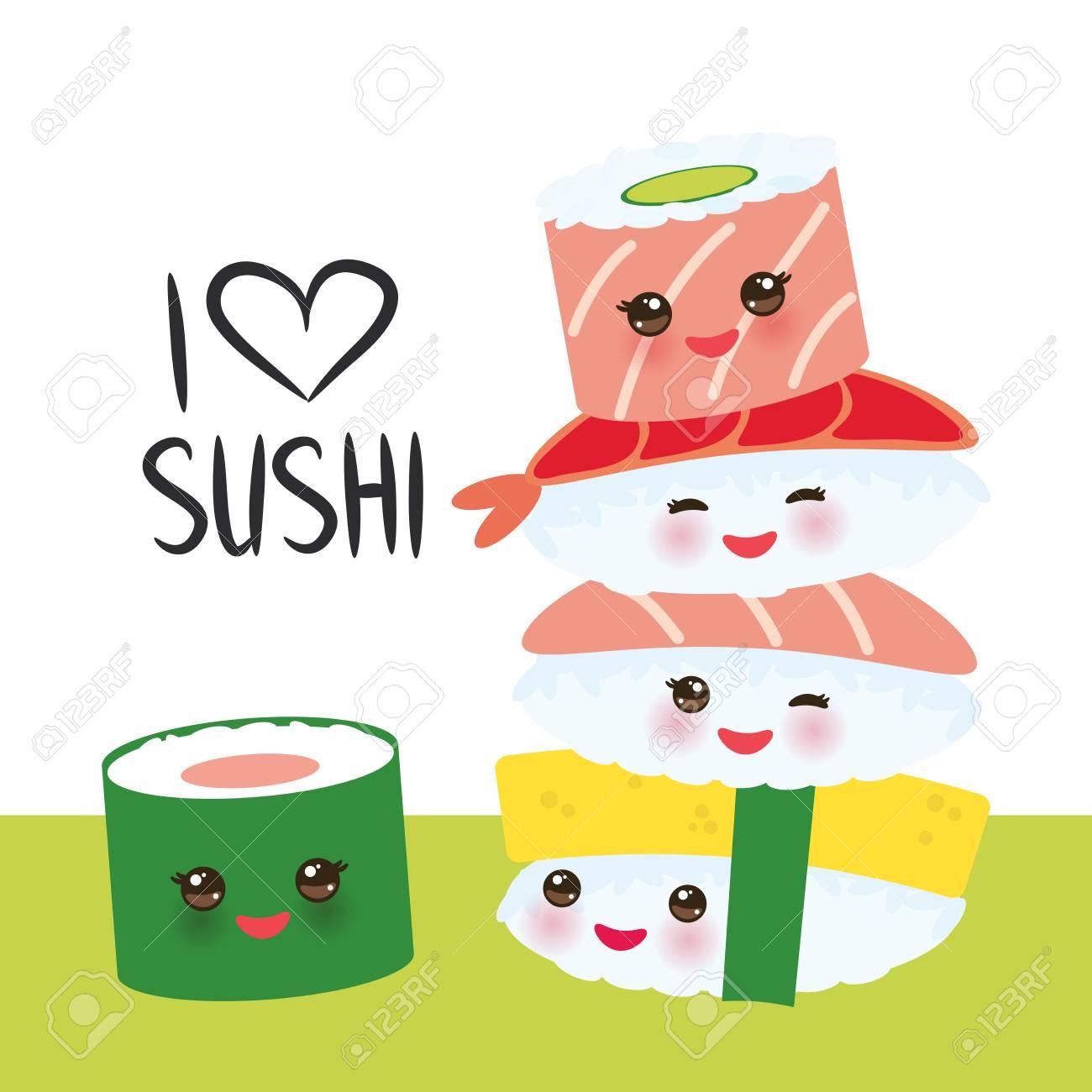 dc93af69f I love sushi. Kawaii funny sushi set with pink cheeks and big eyes, emoji