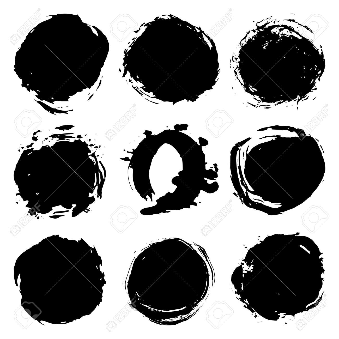 Black brush strokes round spot, collection abstract scandinavian style isolated on white background grunge texture. Card design elements paint stain template frame for your text, copy space. Vector illustration - 166872285