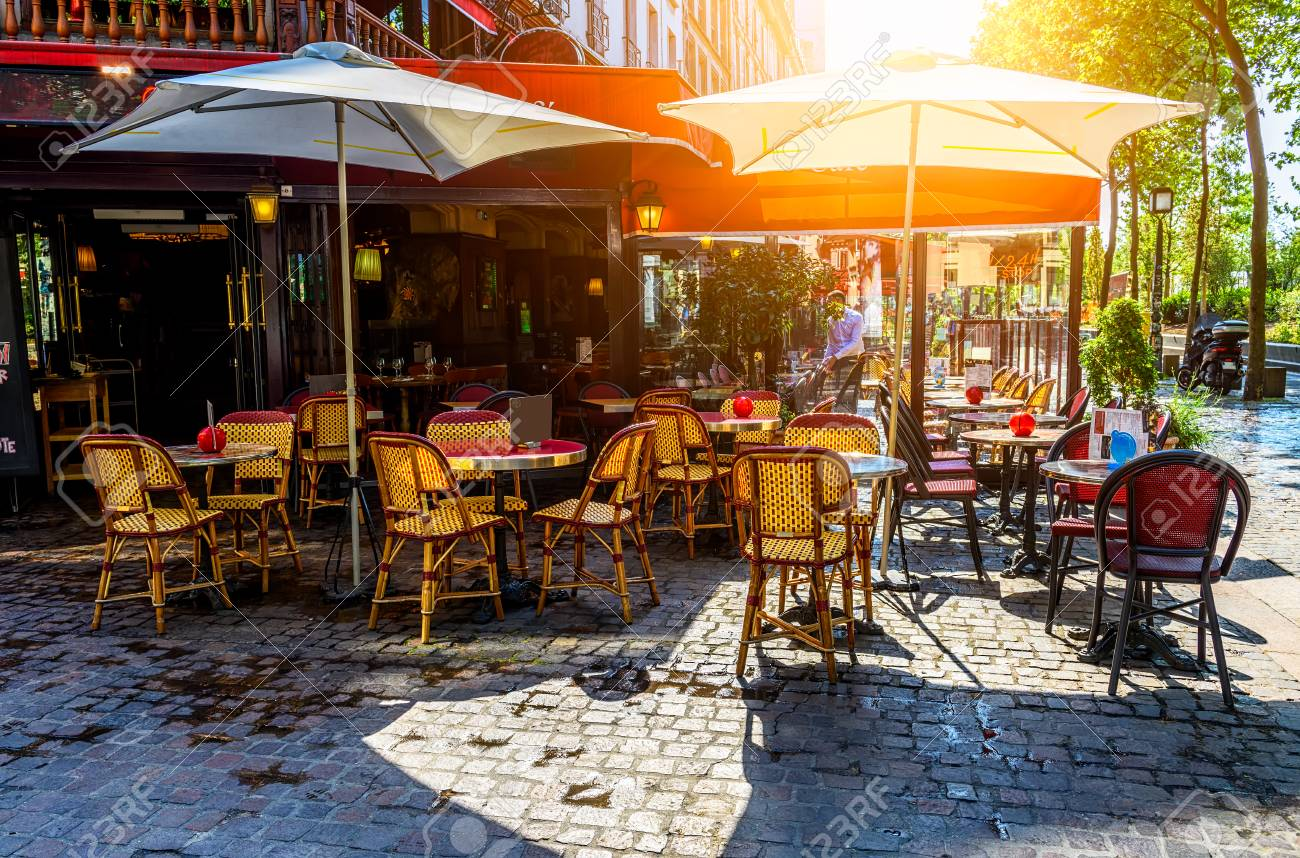 Typical View Of The Parisian Street With Tables Of Brasserie