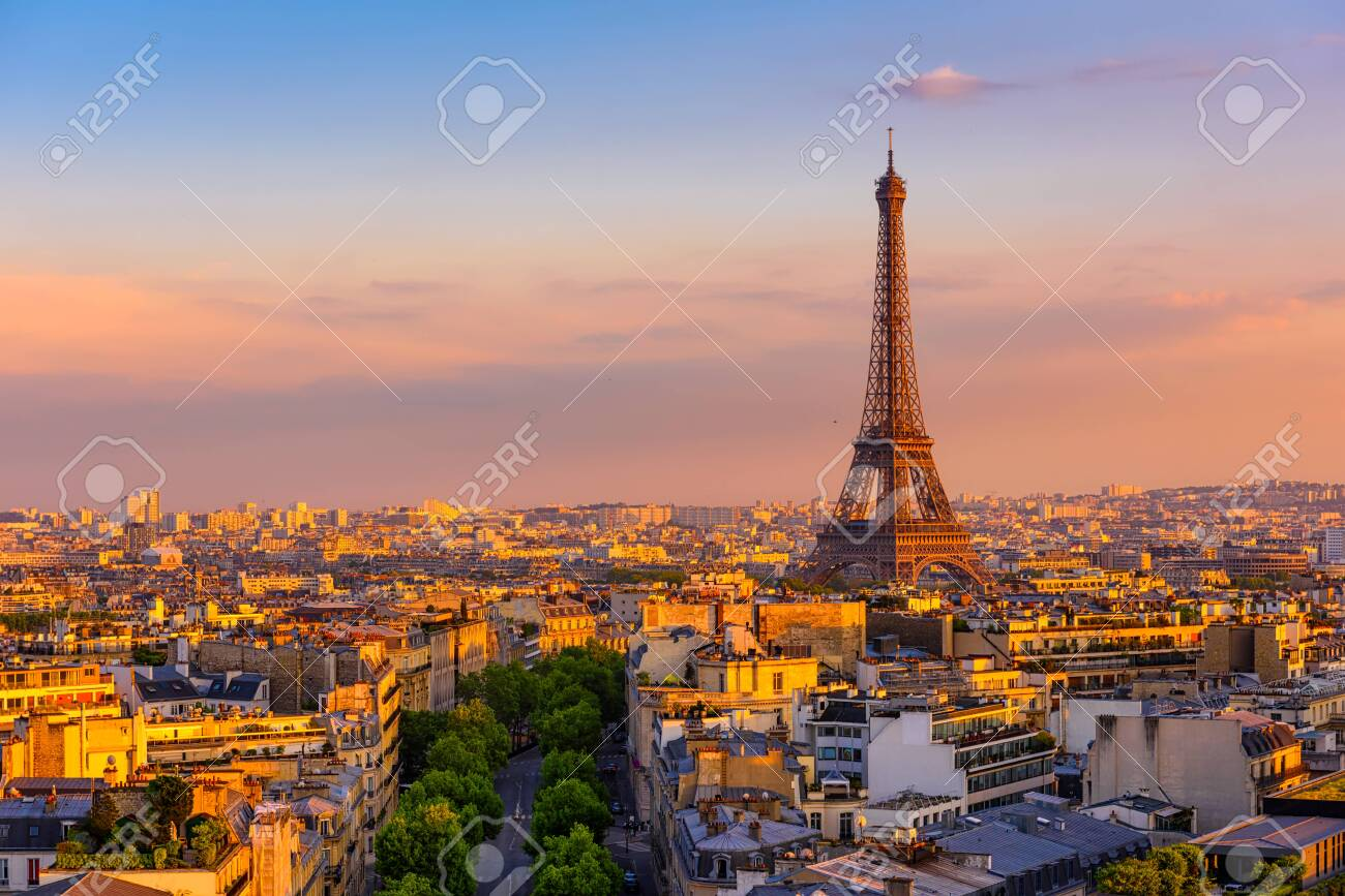 Skyline of Paris with Eiffel Tower in Paris, France. Panoramic sunset view of Paris - 135791292