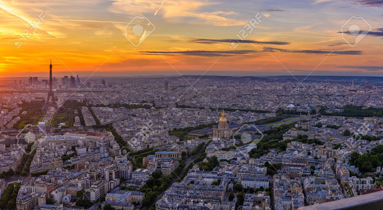 Skyline Of Paris With Eiffel Tower At Sunset In Paris France Stock Photo Picture And Royalty Free Image Image 140185975