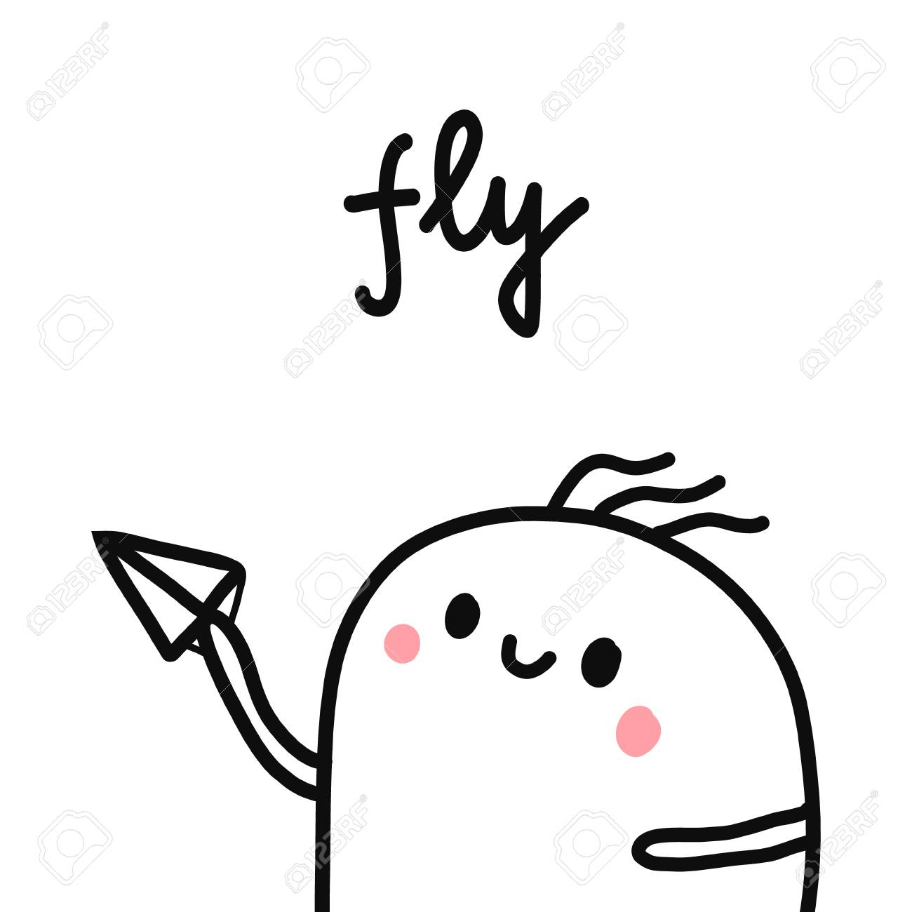 Fly Marshmallow With Paper Plane Hand Drawn Illustration Cute