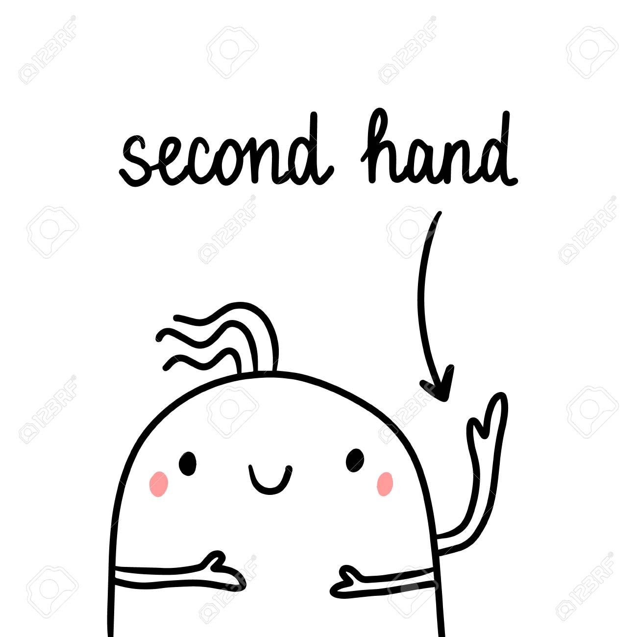 Second hand drawn illustration with cute marshmallow three arms cartoon minimalism - 124925668