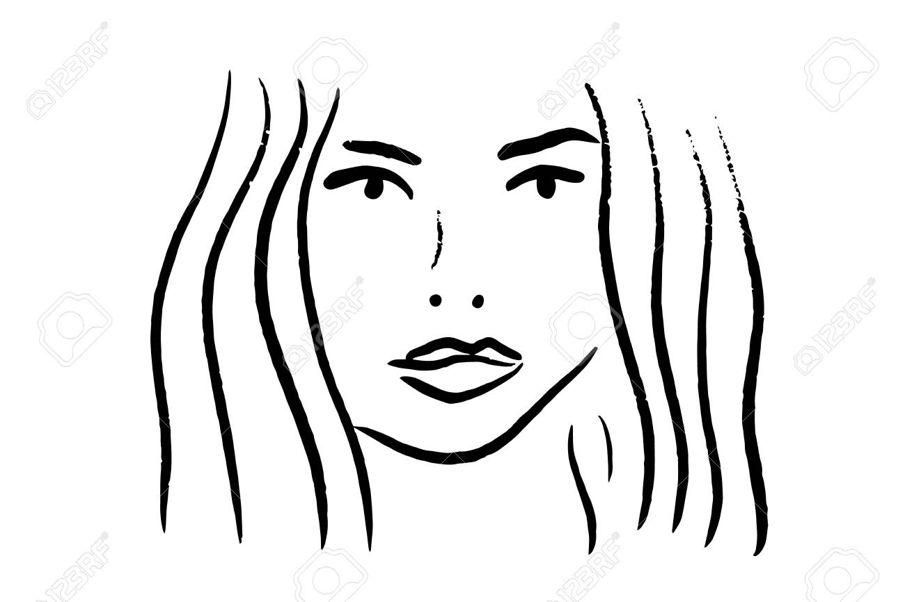 Black and white portrait of beautiful woman line art hand drawn vector background wallpaper - 133556432