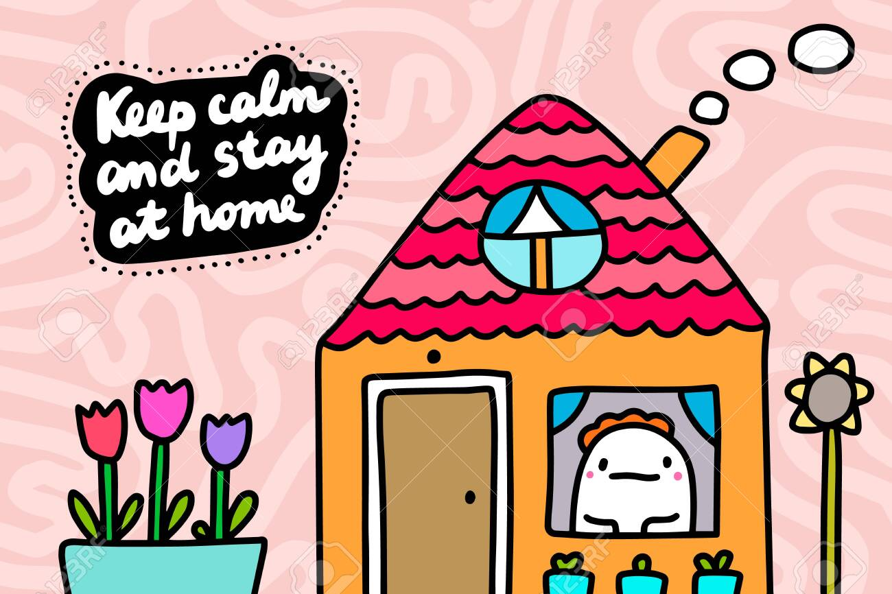Keep calm and stay at home coronavirus covid-19 protection hand drawn vector illustration in cartoon comic style textured background - 142752326