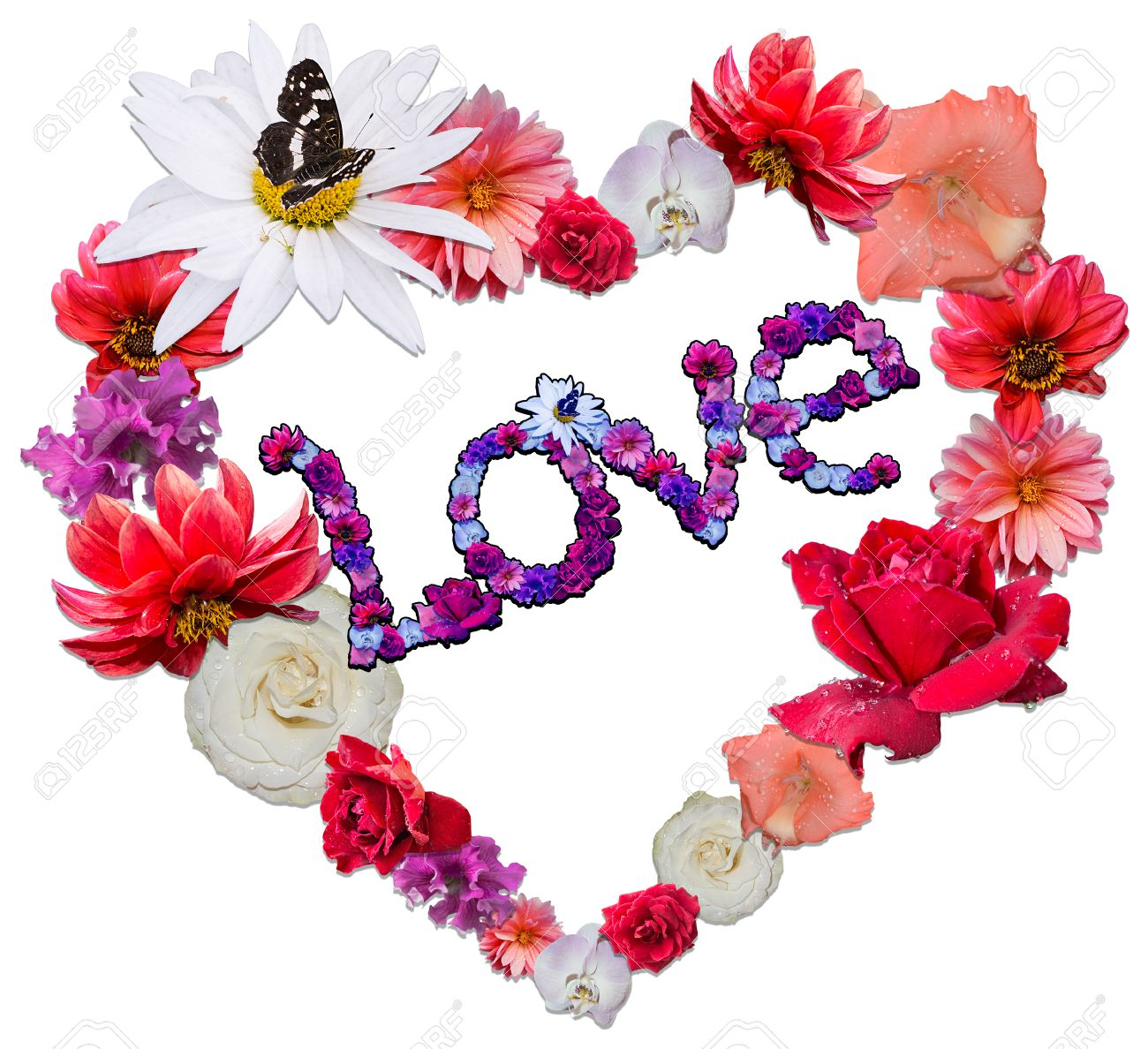 Beautiful Heart With Legend Made Of Different Flowers As A Symbol