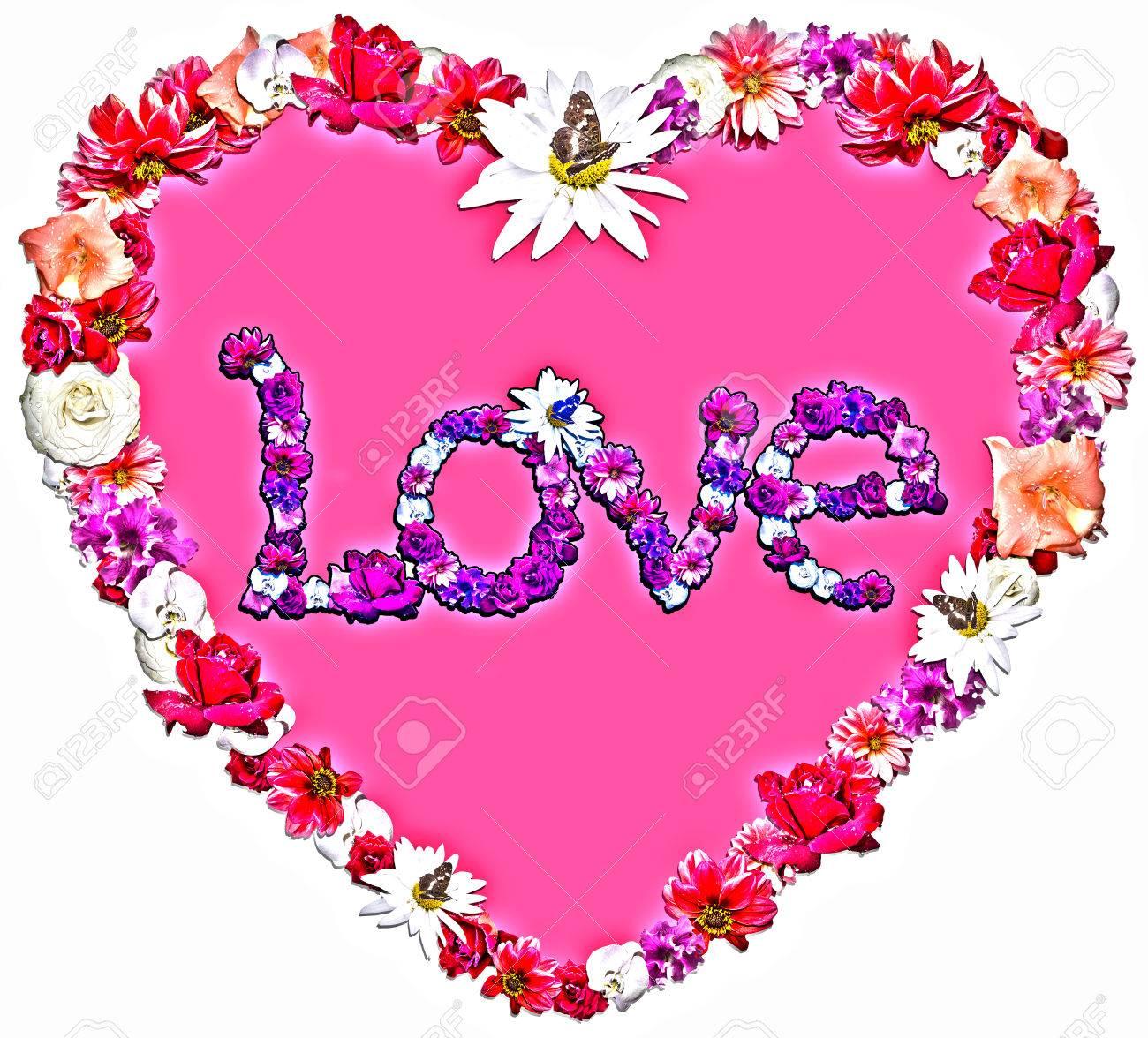 Belle Coeur Avec La Legende D Amour Faite De Differentes Fleurs