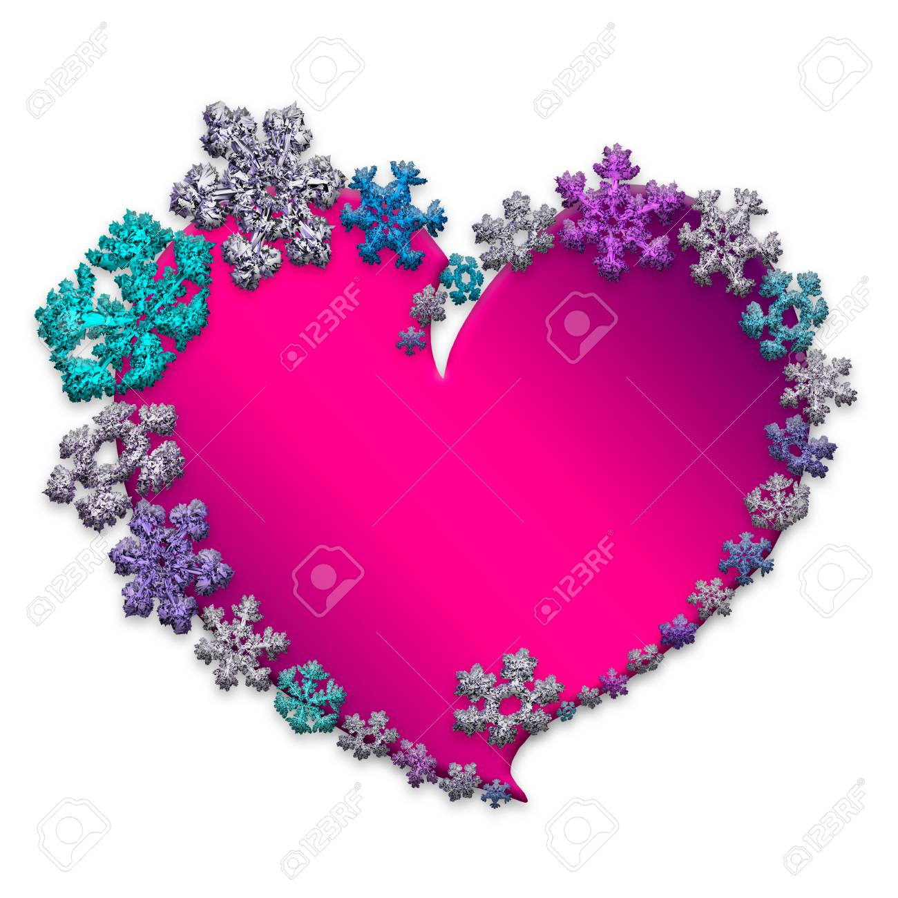 92819227 beautiful pink heart made with different snowflakes on white background symbol of love and valentine