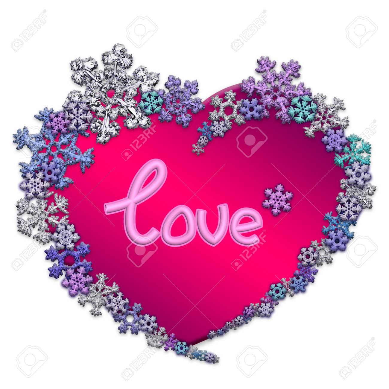 Magnifique Coeur Rose Avec Inscription Amour Fait De Différents Flocons De Neige Sur Fond Blanc Symbole Damour Mariage Et Saint Valentin Rendu 3d
