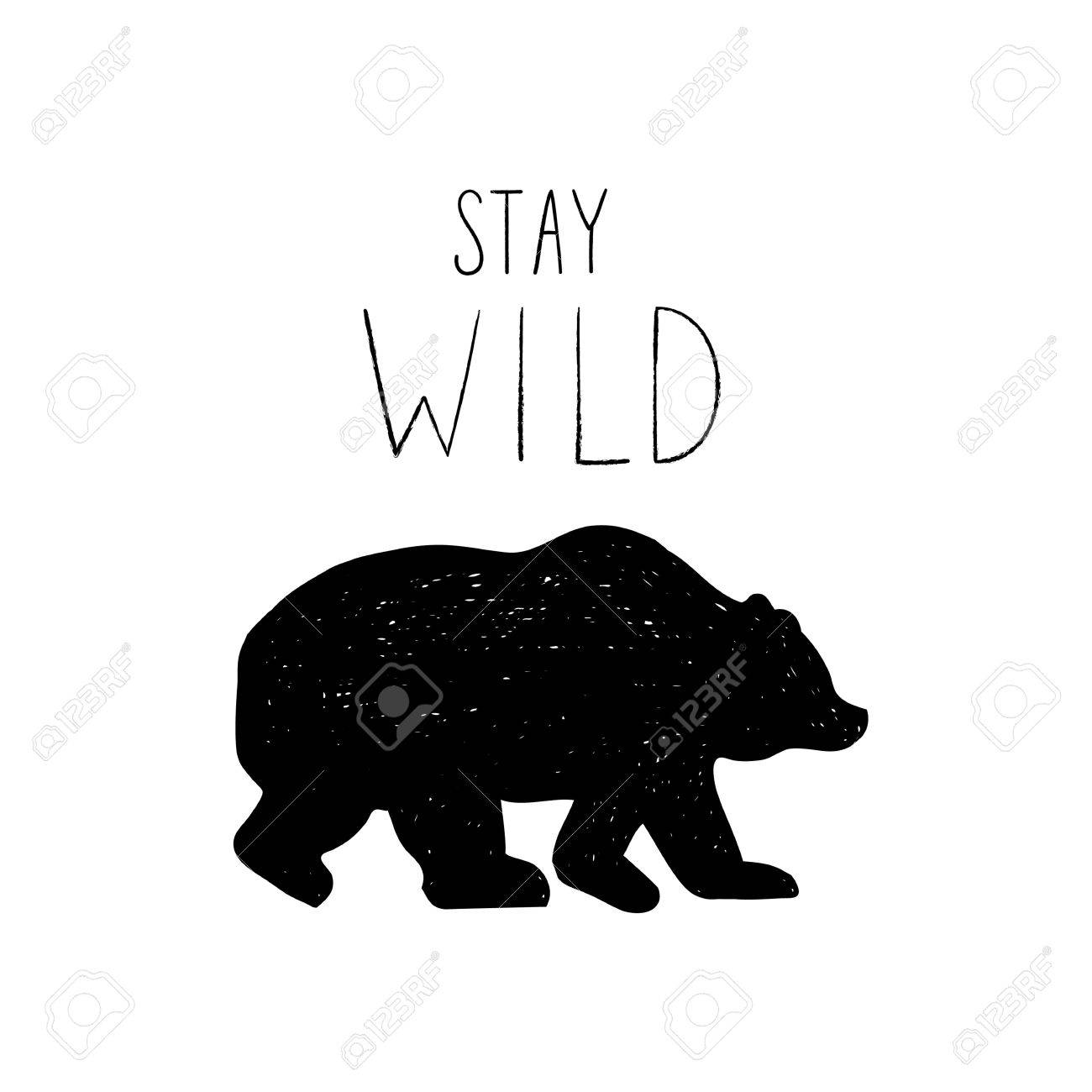 Tribal illustration with design elements bear and stay wild lettering stock vector 69146573