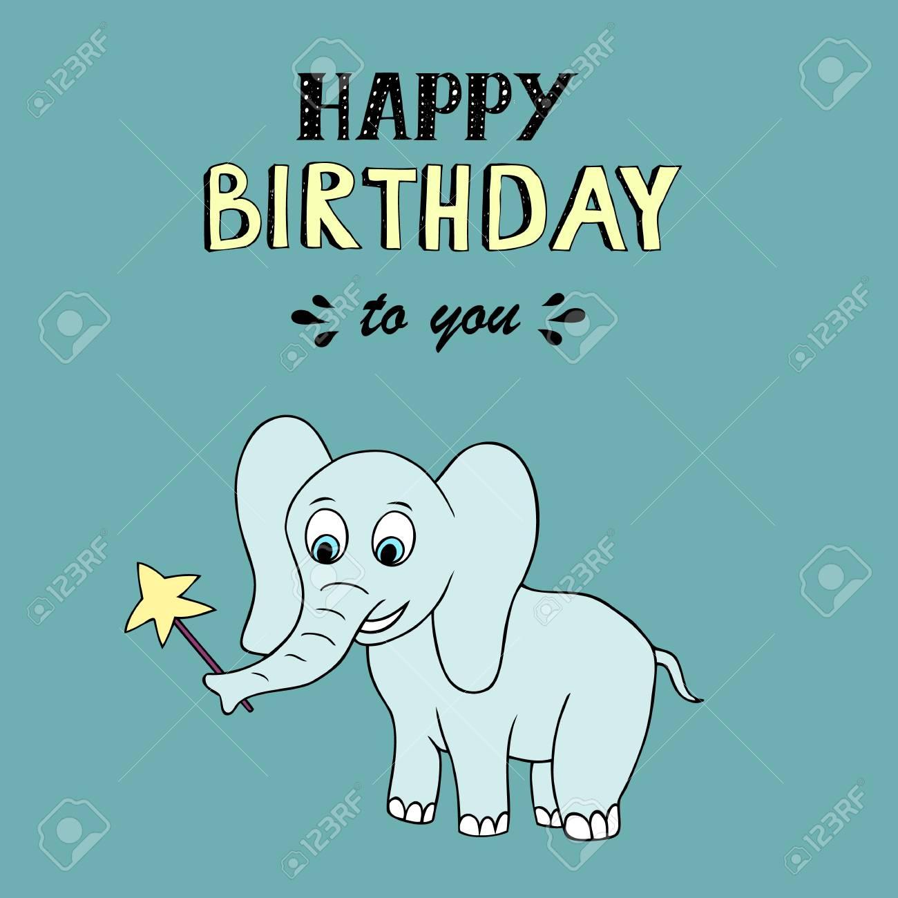 Lettrage Joyeux Anniversaire Illustration Vectorielle Avec Bébé éléphant Bon Pour En Tête Invitation Bannière Carte De Voeux Baby Shower