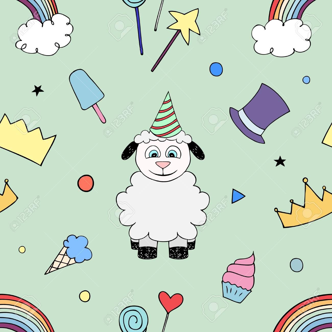 Joyeux Anniversaire Parti Modèle Sans Couture Avec Bébé Mouton