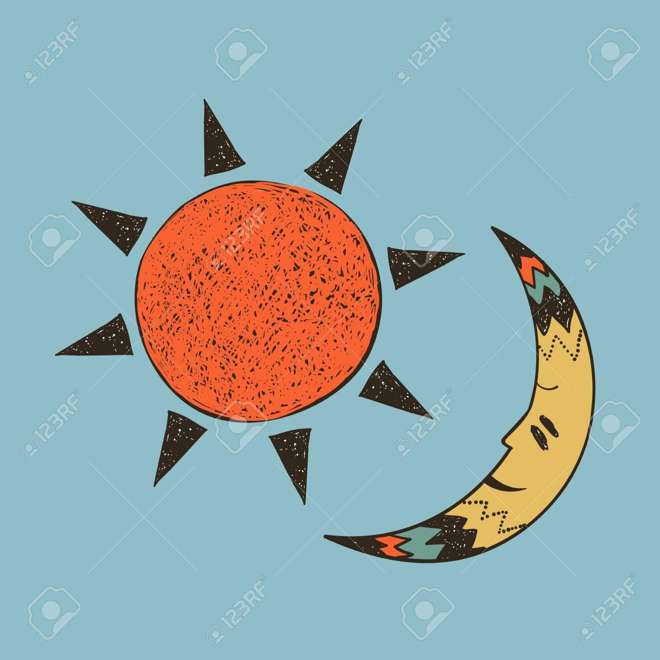 Ilustración Tribal Del Sol Y La Luna Ilustraciones Vectoriales