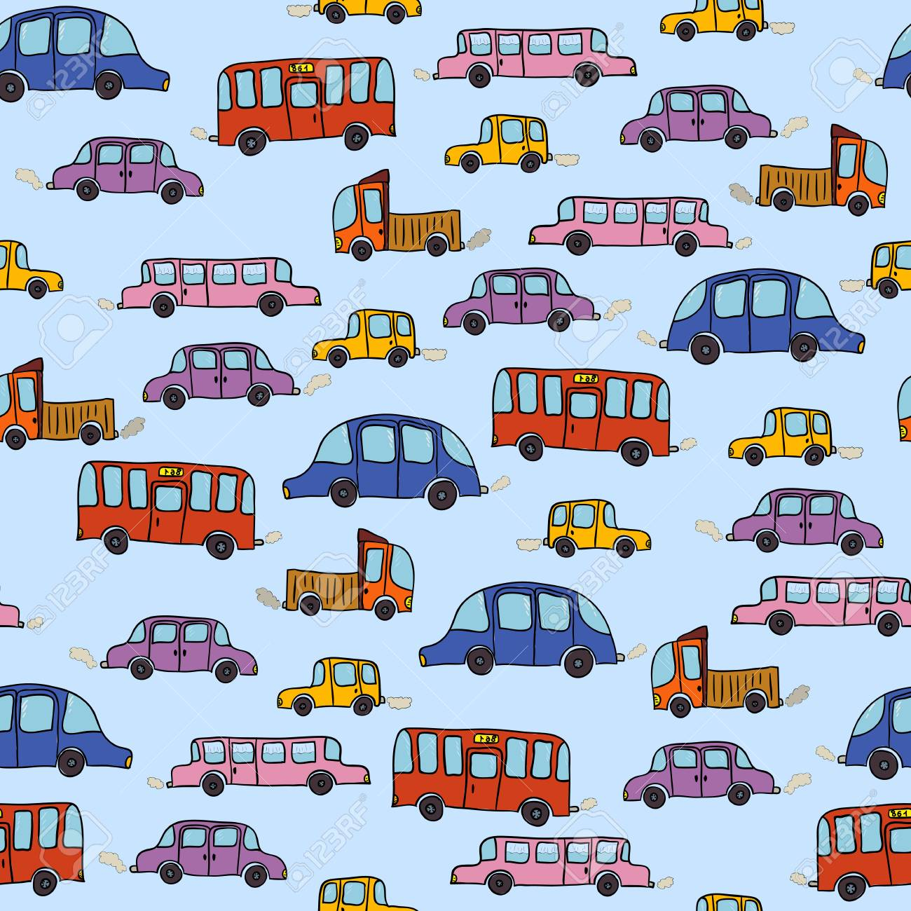 Colorful Cartoon Cars Seamless Pattern Background With Hand Drawn