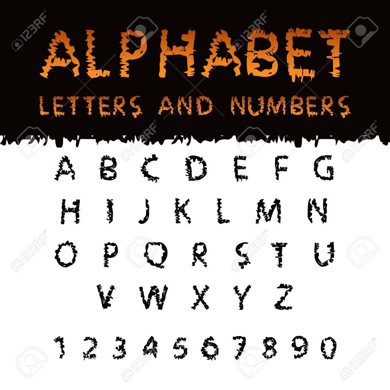 Scribble Halloween Font  Capital letters English alphabet