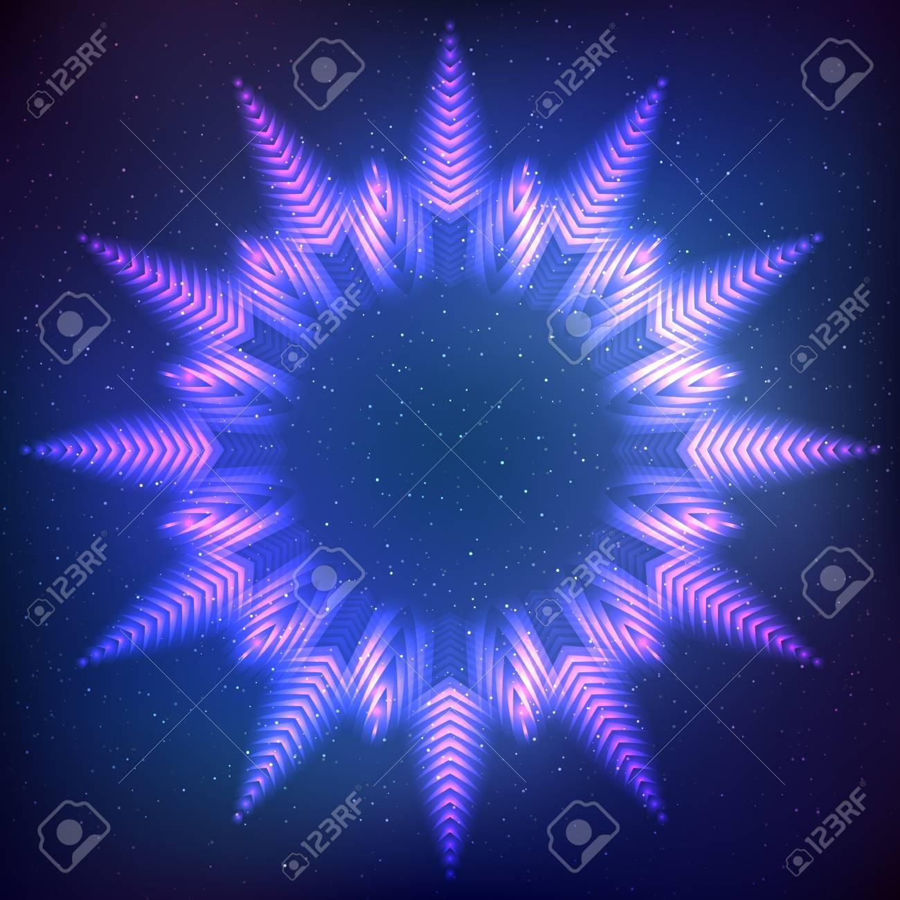 Resumen Estrella Brillante Marco Cósmico Sobre Fondo Azul ...