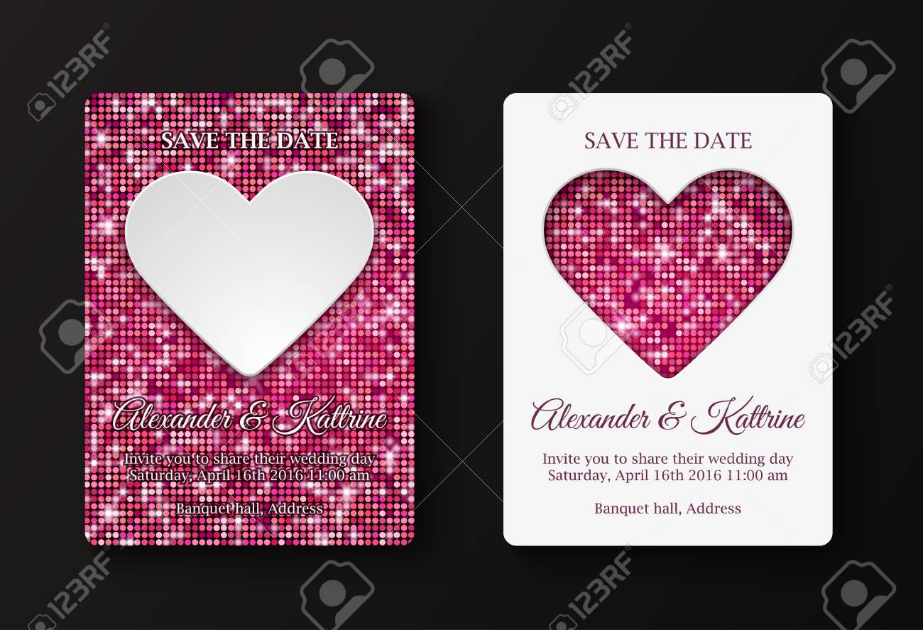 Wedding Or Valentine S Day Party Invitation Cards Template Two