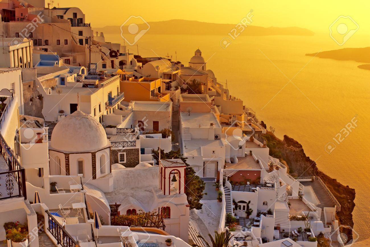 Amazing sunset at Oia village in Santorini island  Stock Photo - 12570990