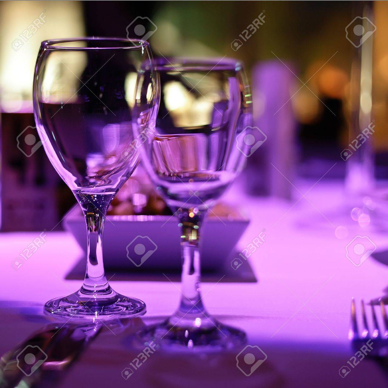 Table decorated for romantic dinner for two. Stock Photo - 12854590