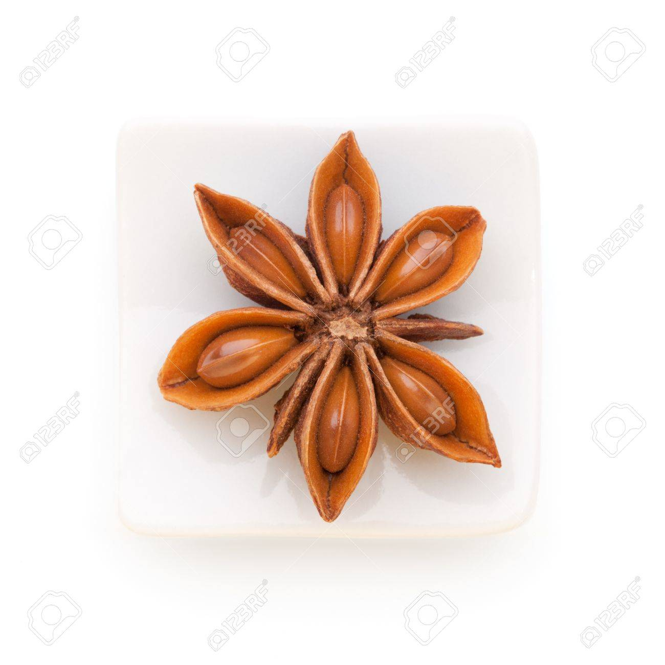 Anise star  Illicium verum   in a white bowl on white background  Also called Star aniseed, or Chinese star anise  Used as a spice in cuisines all over the world  The plant is also used in medicine Stock Photo - 15914989