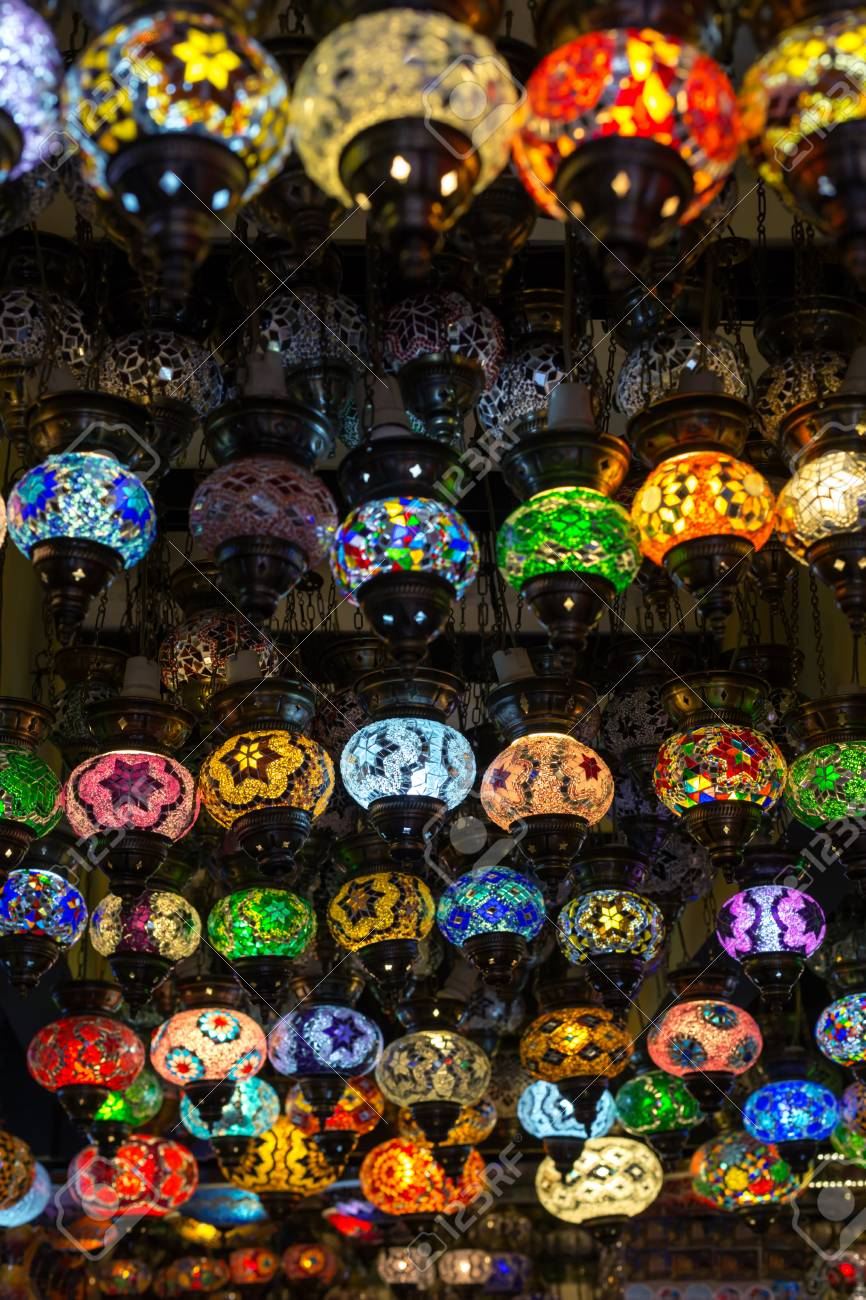 Row Of Traditional Handmade Turkish Lamps In Souvenir Shop Stock Photo    33495636